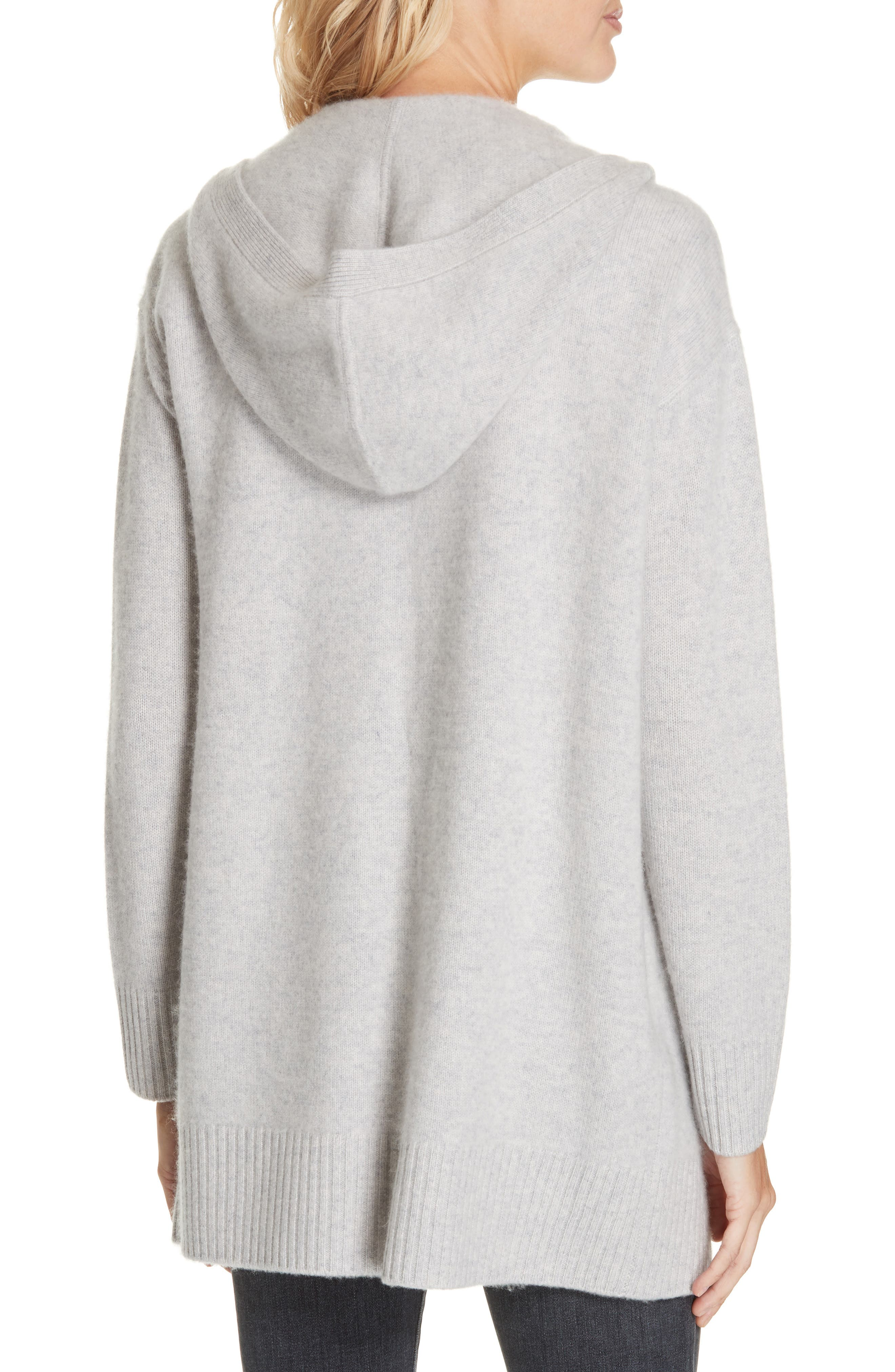 NORDSTROM SIGNATURE,                             Hooded Boiled Cashmere Cardigan,                             Alternate thumbnail 2, color,                             GREY CLAY HEATHER