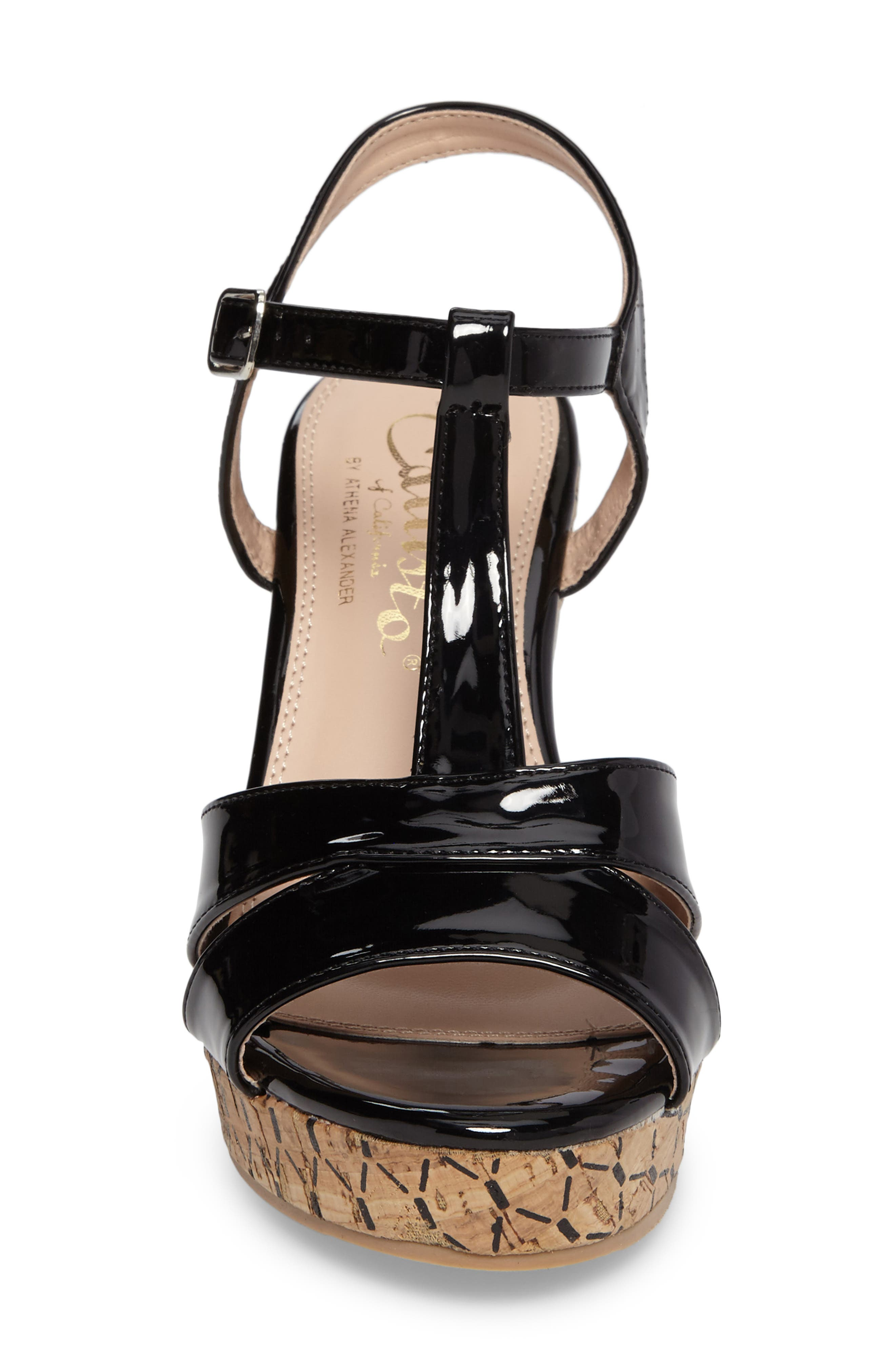 Teluride Platform Wedge Sandal,                             Alternate thumbnail 4, color,                             BLACK SYNTHETIC PATENT