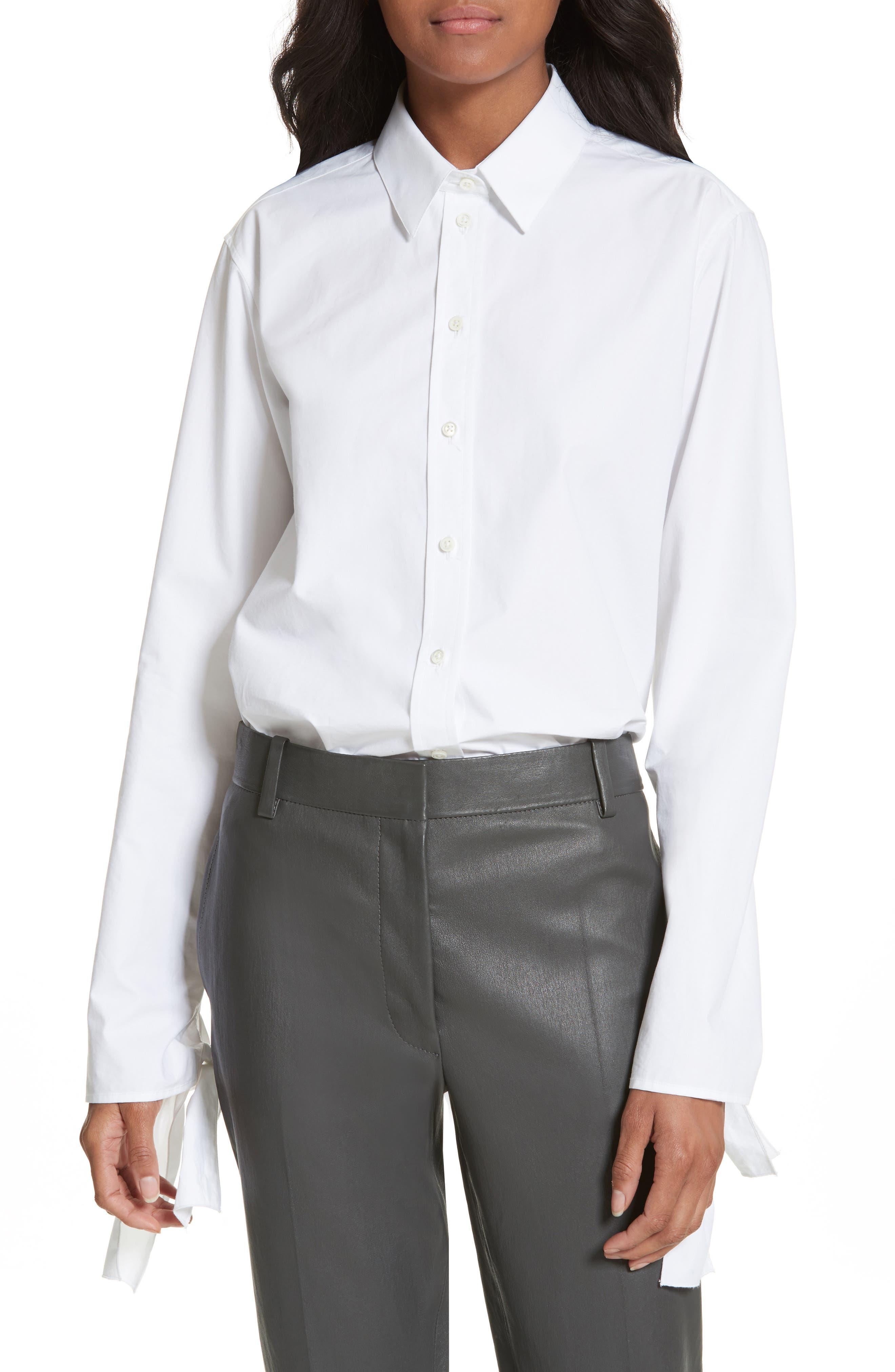 Tie Sleeve Shirt,                             Main thumbnail 1, color,                             100
