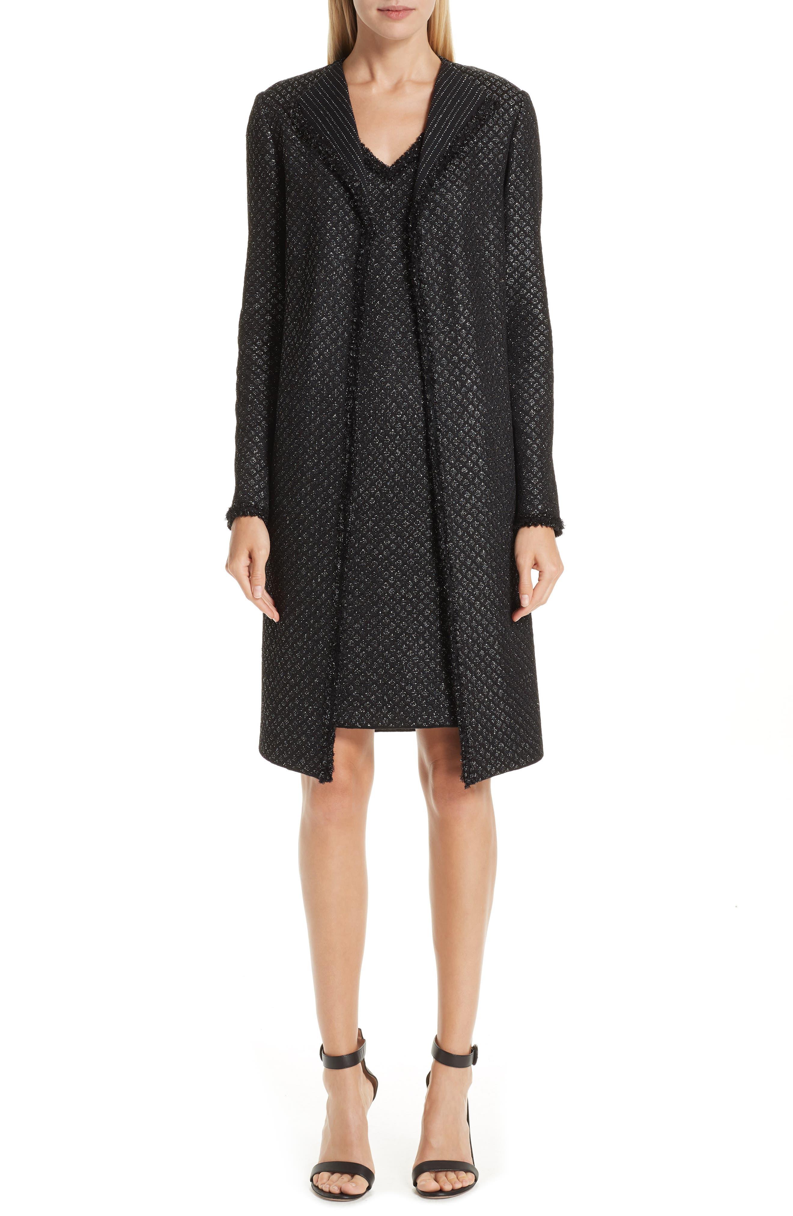 Shimmer Inlay Brocade Knit Jacket,                             Alternate thumbnail 8, color,                             CAVIAR/ SILVER