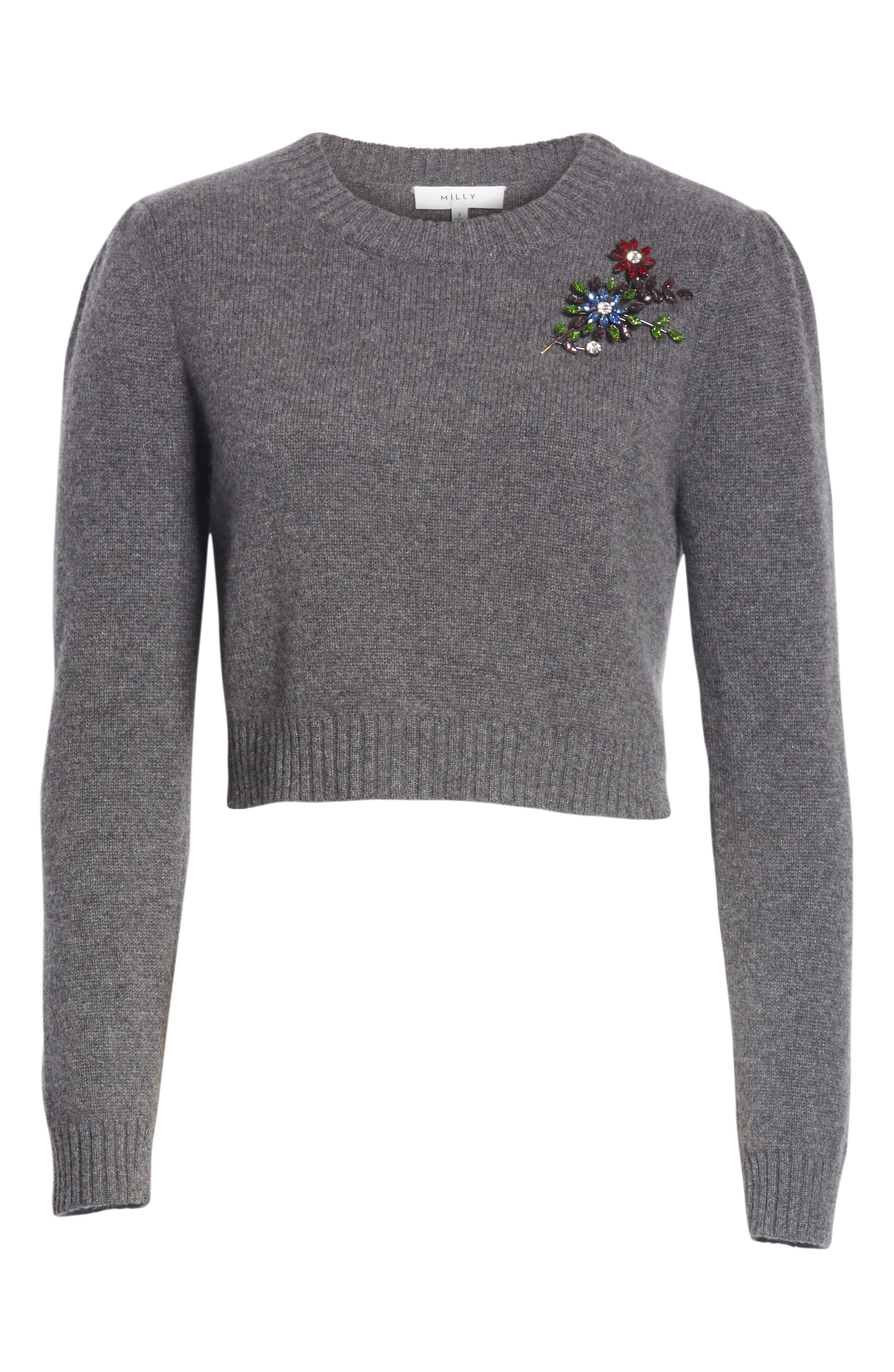 Cashmere Crop Pin Sweater,                             Alternate thumbnail 6, color,                             HEATHER GREY