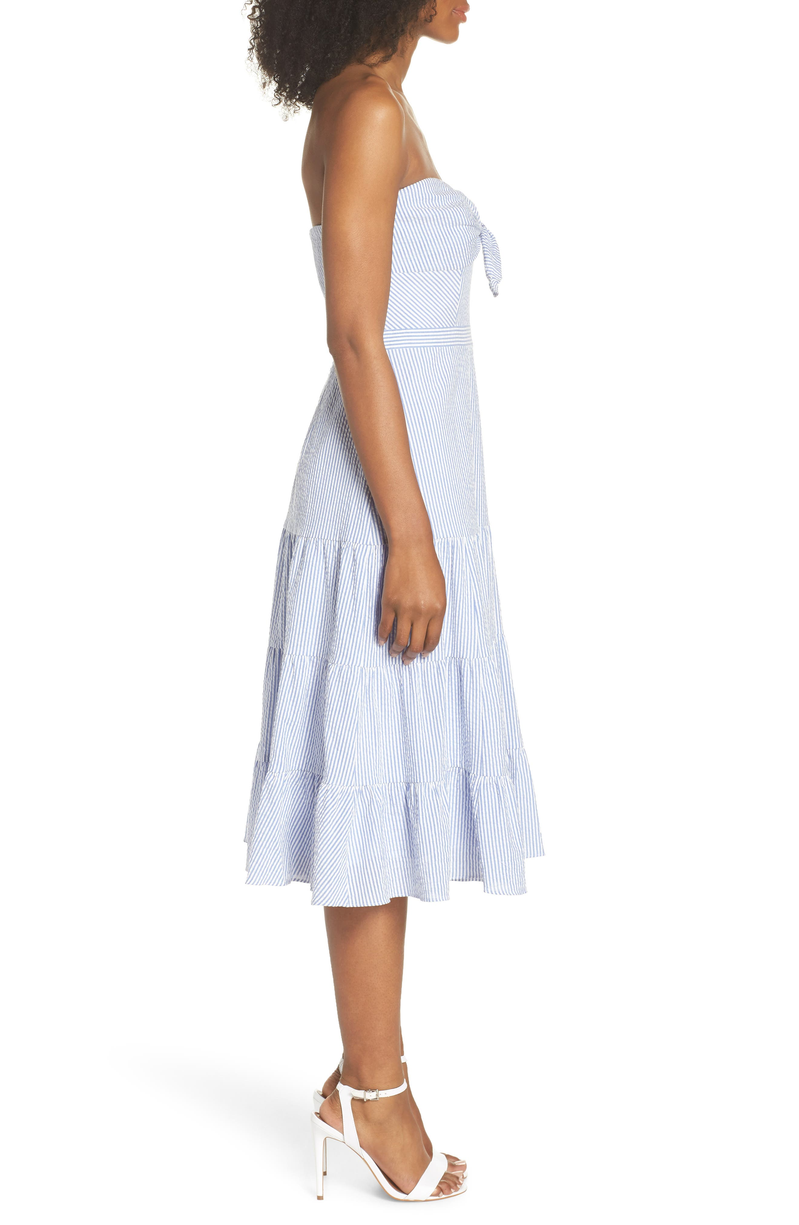 Tie Front Strapless Dress,                             Alternate thumbnail 3, color,                             401