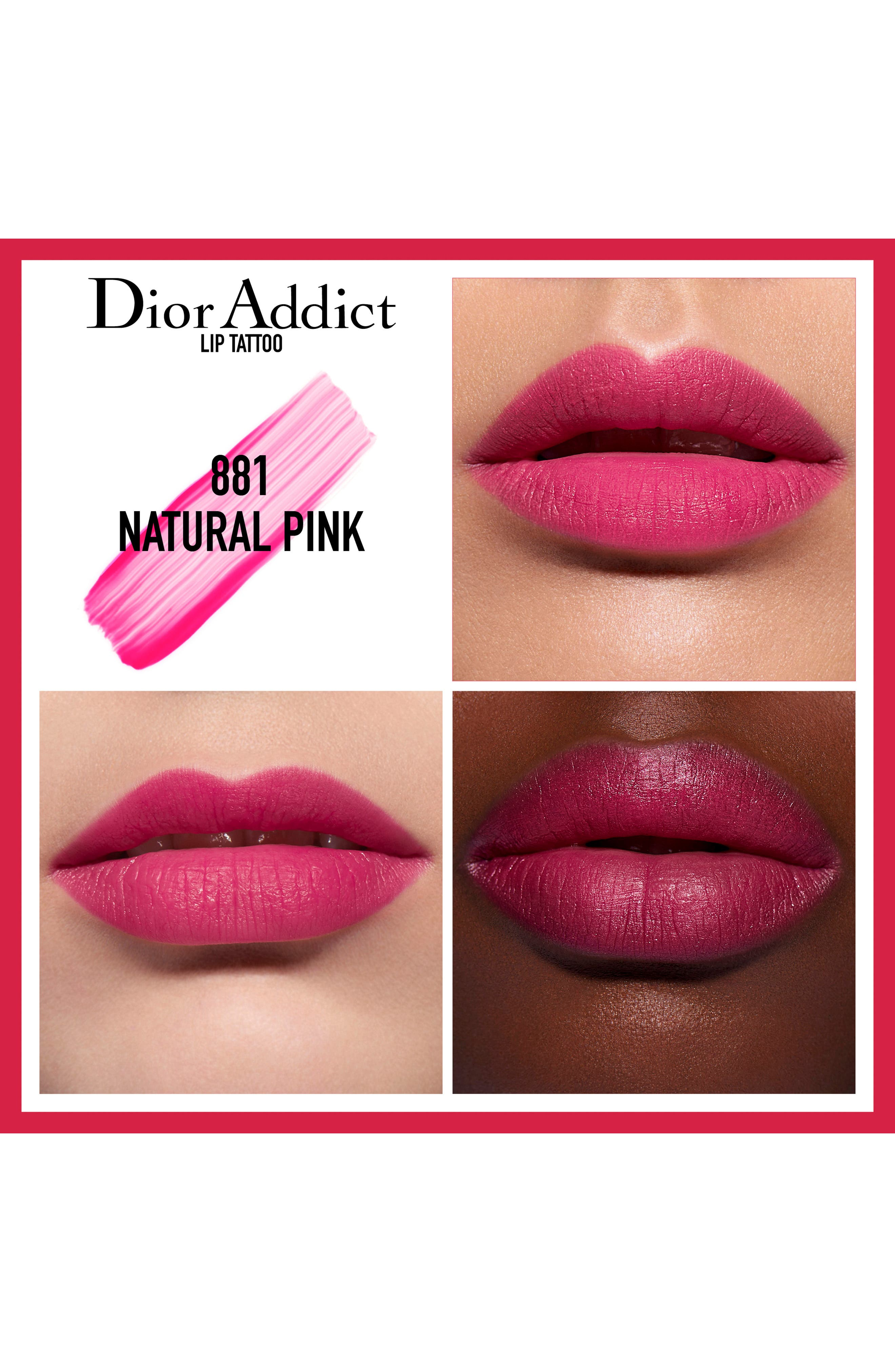 DIOR,                             Addict Lip Tattoo Long-Wearing Color Tint,                             Alternate thumbnail 2, color,                             881 NATURAL PINK