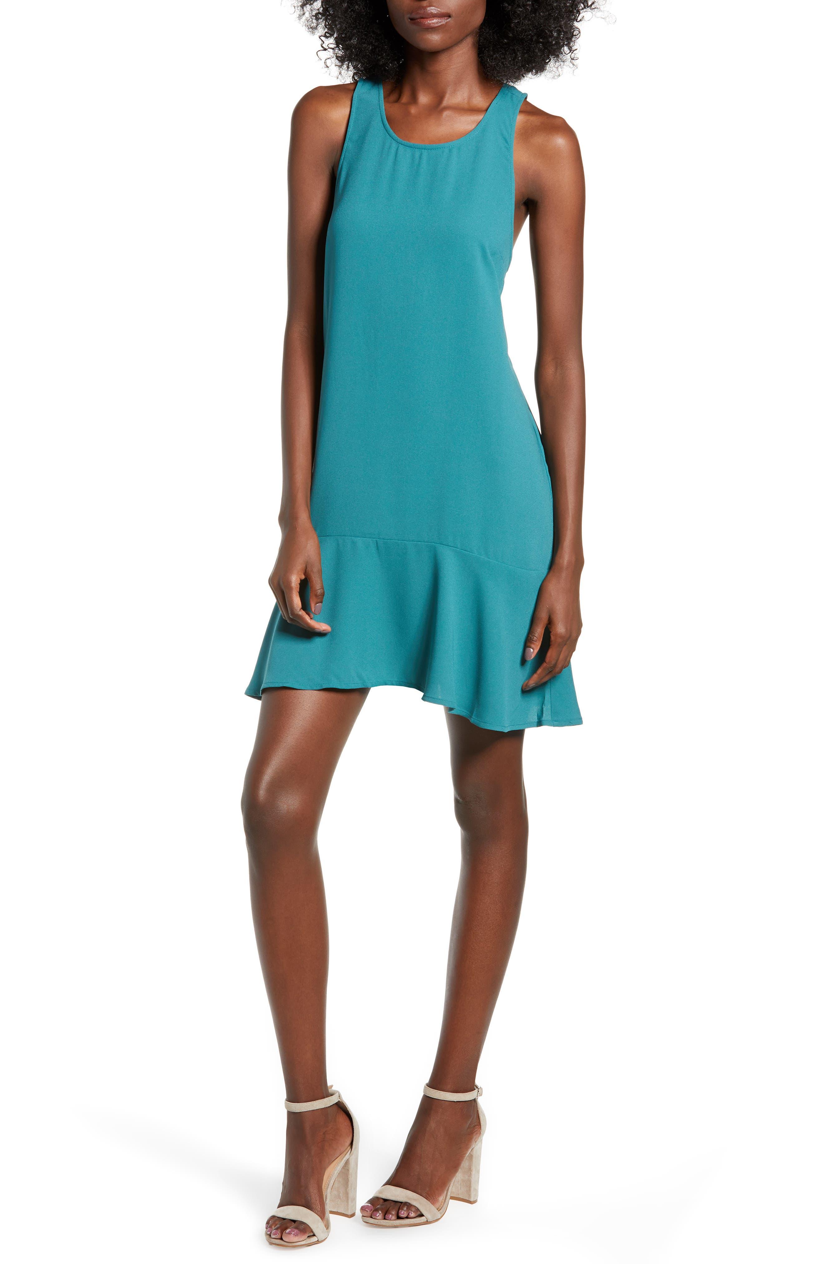 Leith Flounce Hem Dress, Blue/green
