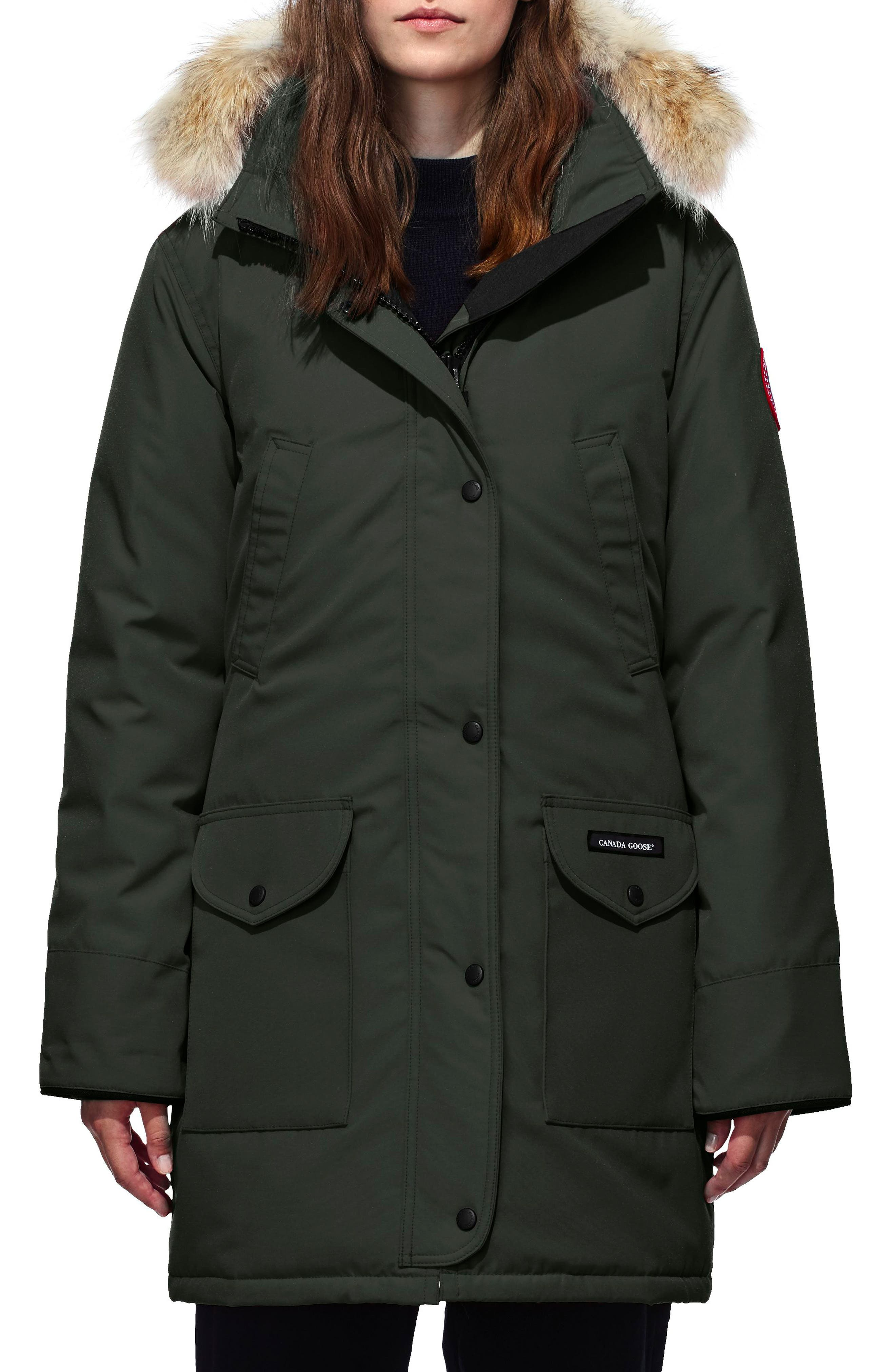 Trillium Fusion Fit Hooded Parka with Genuine Coyote Fur Trim,                             Main thumbnail 1, color,                             VOLCANO