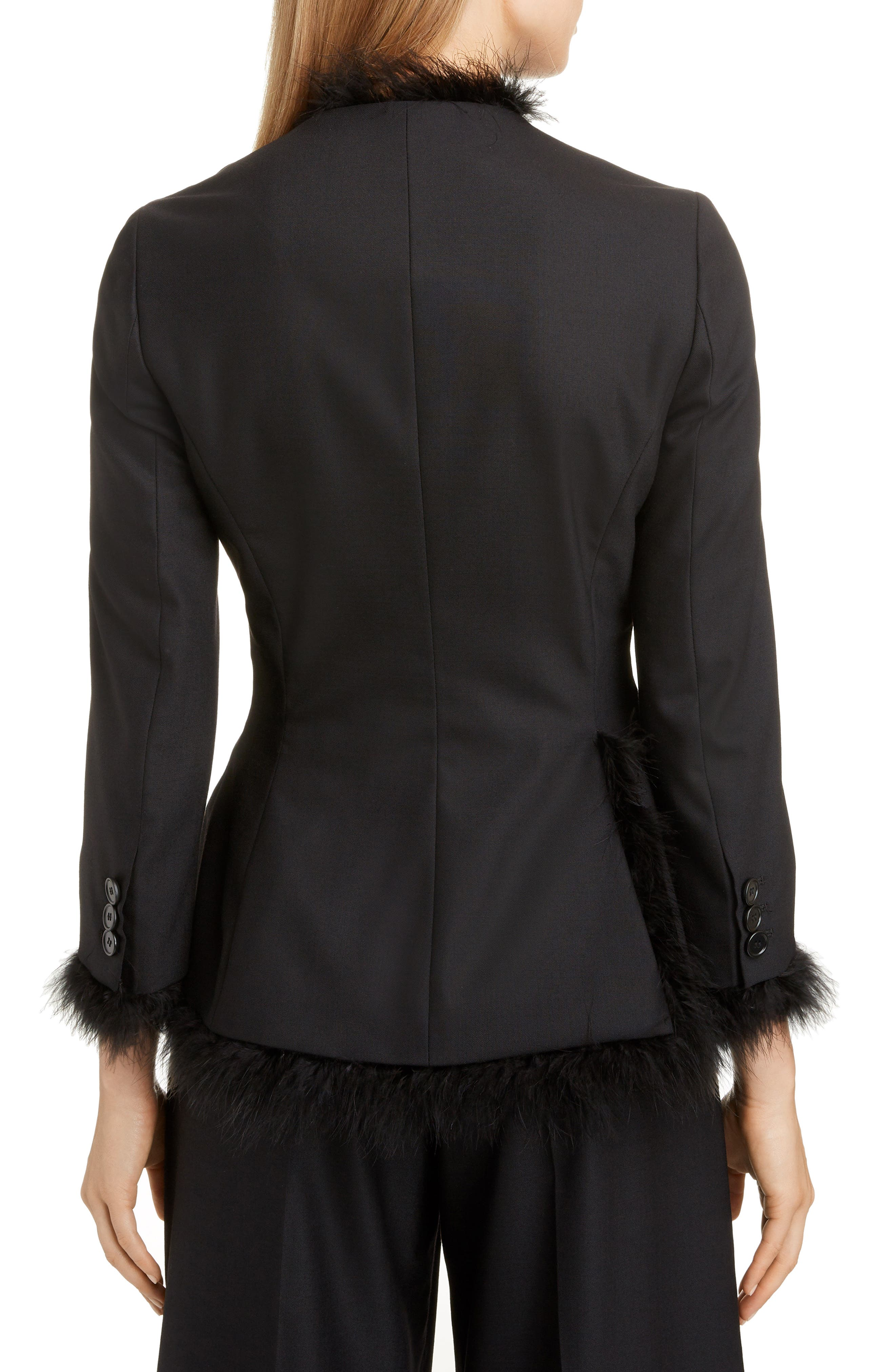 SIMONE ROCHA,                             Marabou Trim Double Breasted Stretch Wool Jacket,                             Alternate thumbnail 2, color,                             BLACK
