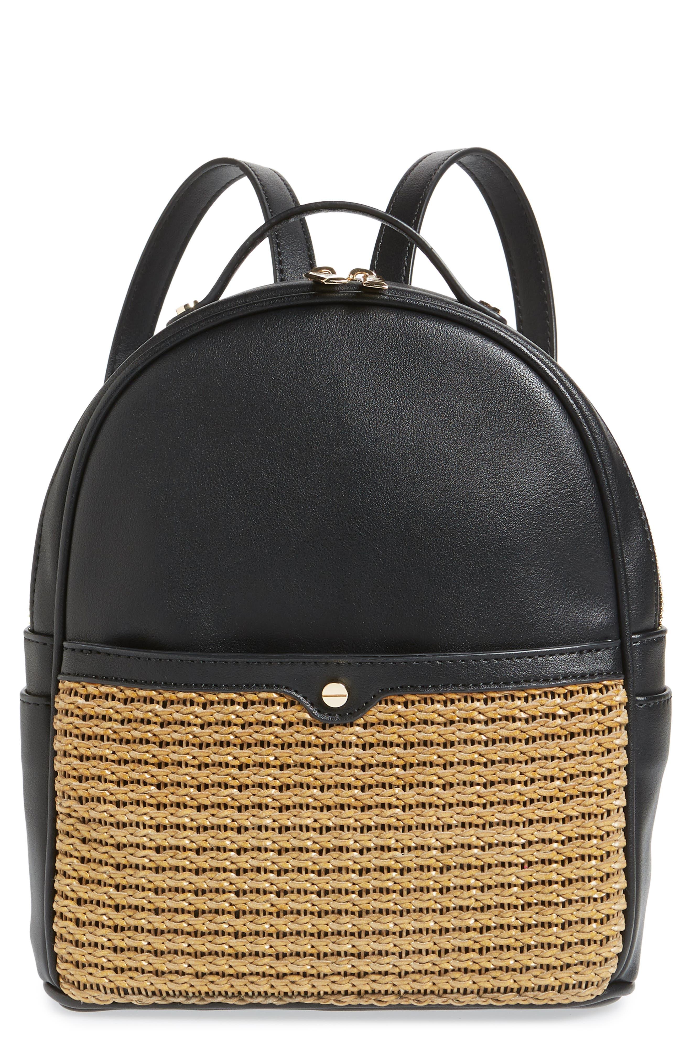 Mali + Lili Harper Lili Basket Weave Backpack,                         Main,                         color, BLACK