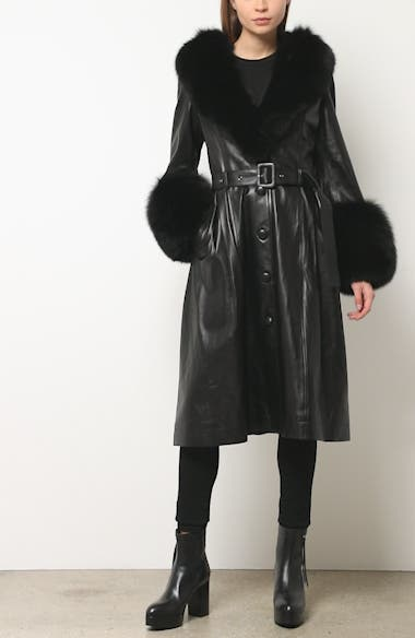 Foxy Leather Coat with Genuine Fox Fur Trim, video thumbnail