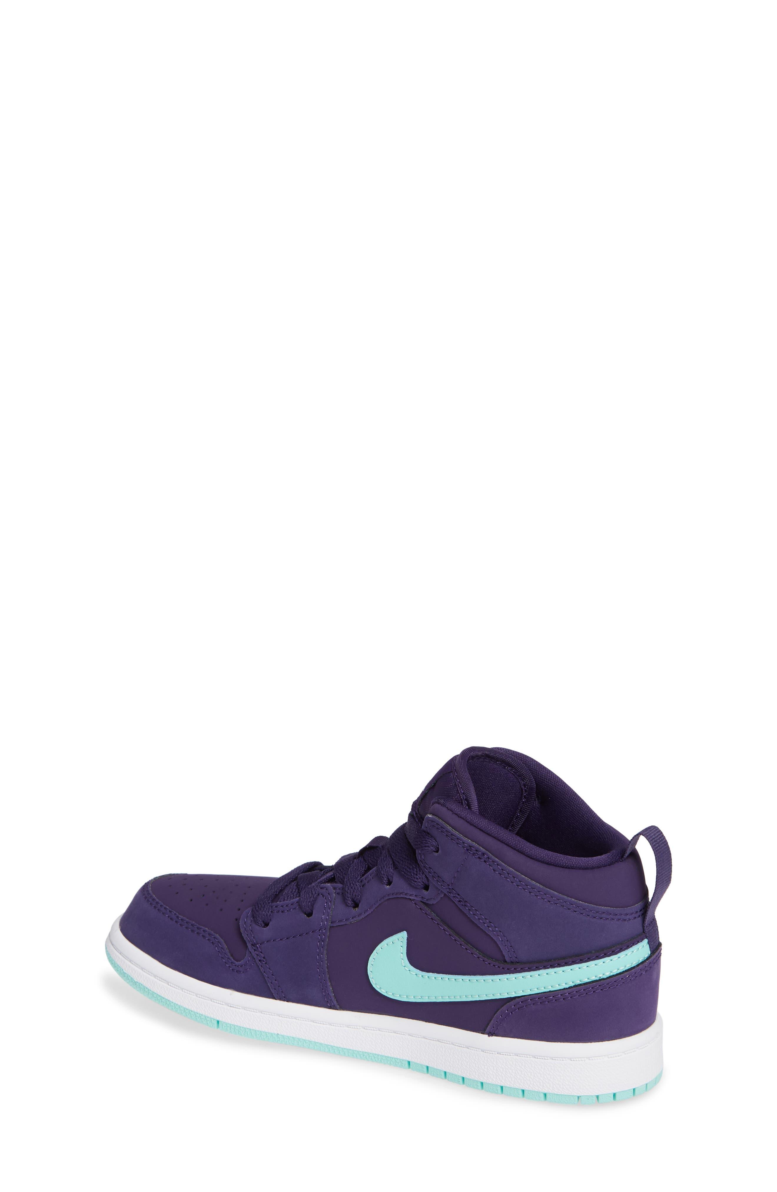 Nike 'Jordan 1 Mid' Basketball Shoe,                             Alternate thumbnail 2, color,                             INK/ EMERALD RISE/ WHITE