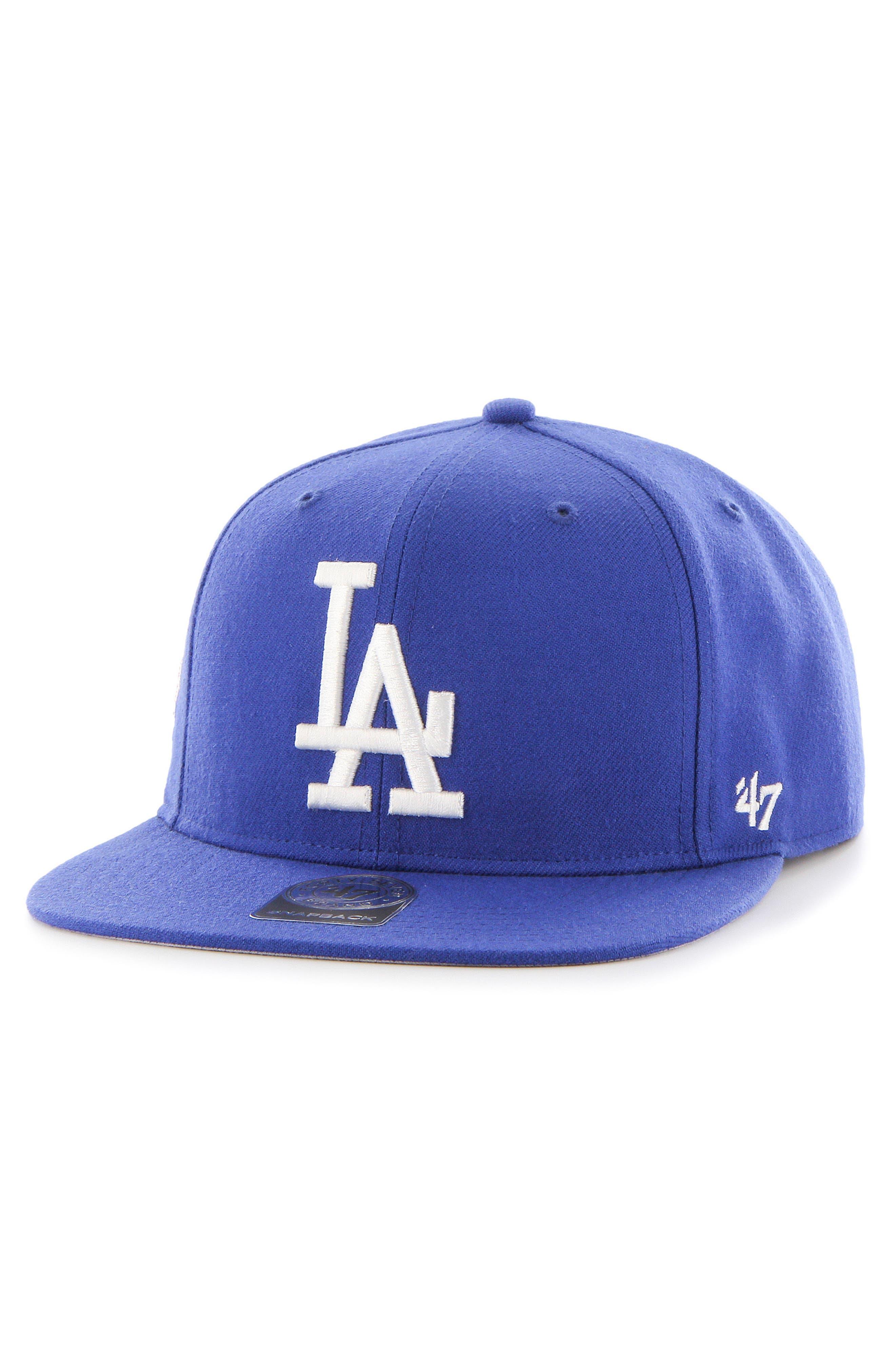 LA Dodgers Sure Shot Captain Baseball Cap,                         Main,                         color, BLUE
