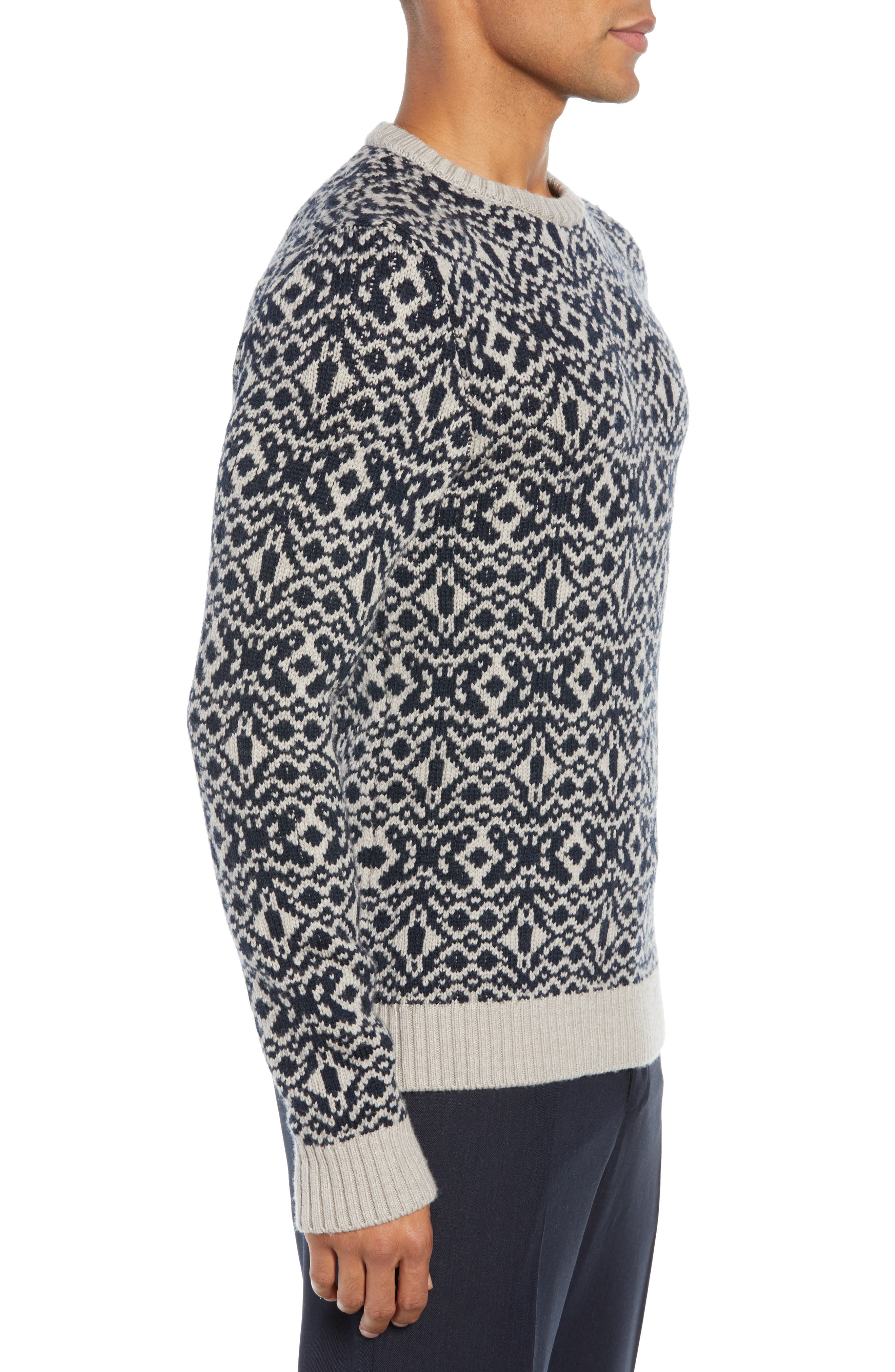 Patterned Wool Crewneck Sweater,                             Alternate thumbnail 3, color,                             STONE