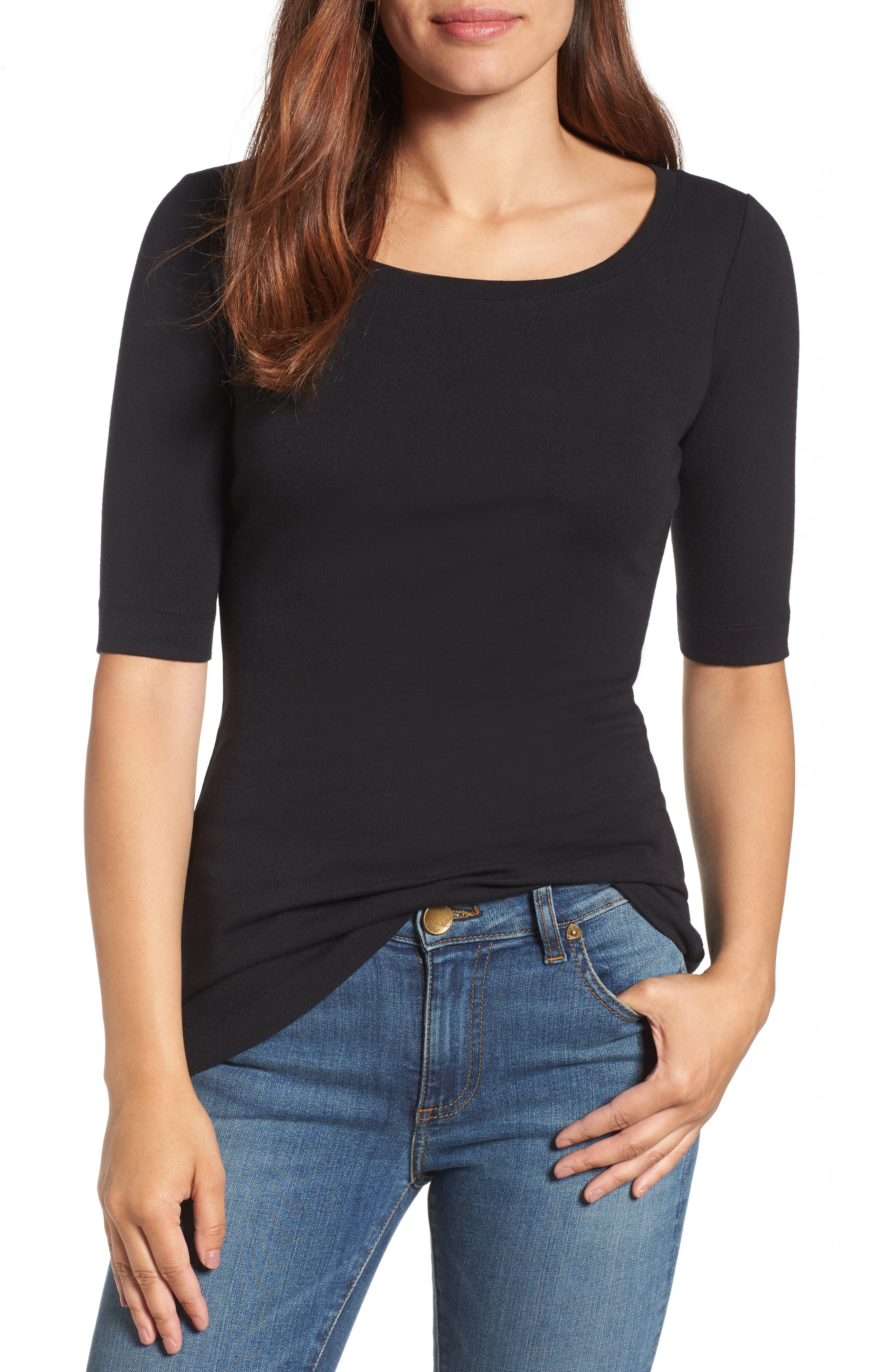 Ballet Neck Cotton & Modal Knit Elbow Sleeve Tee,                         Main,                         color, 001