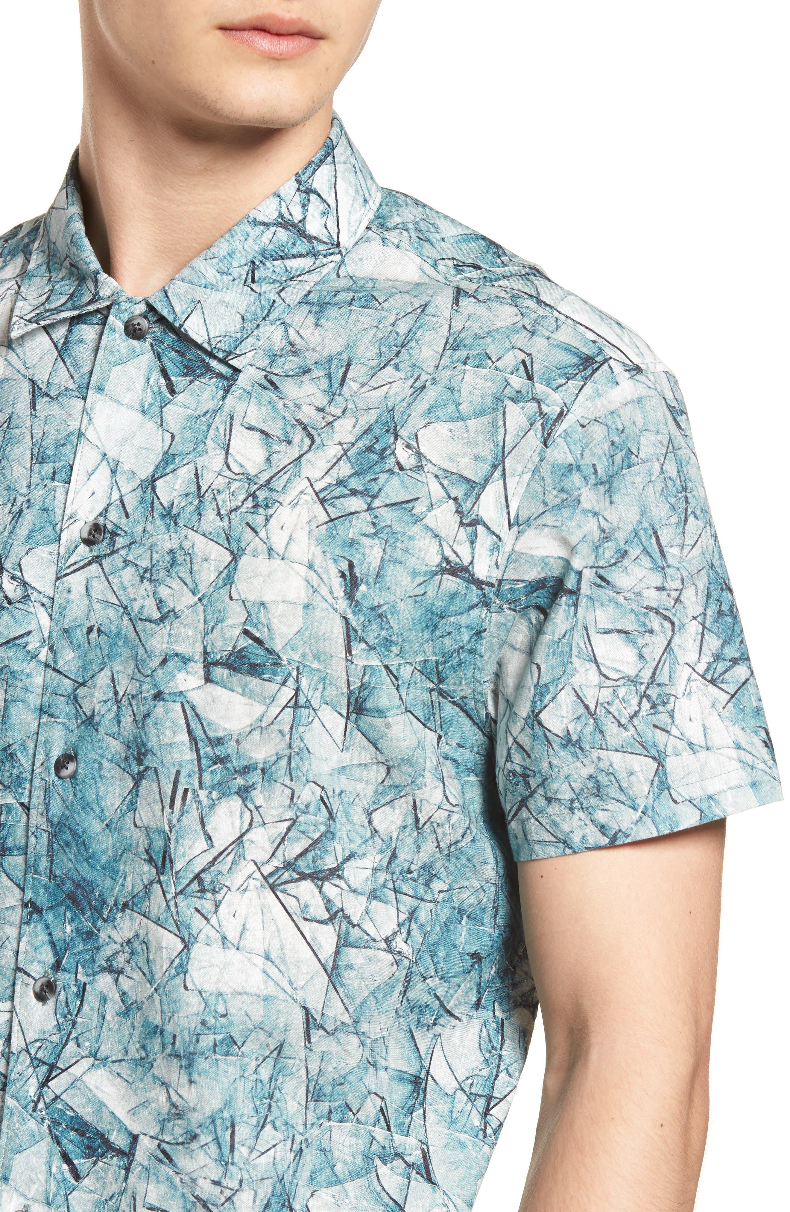 Shoto Short Sleeve Shirt,                             Alternate thumbnail 4, color,                             SHATTERED BLUE