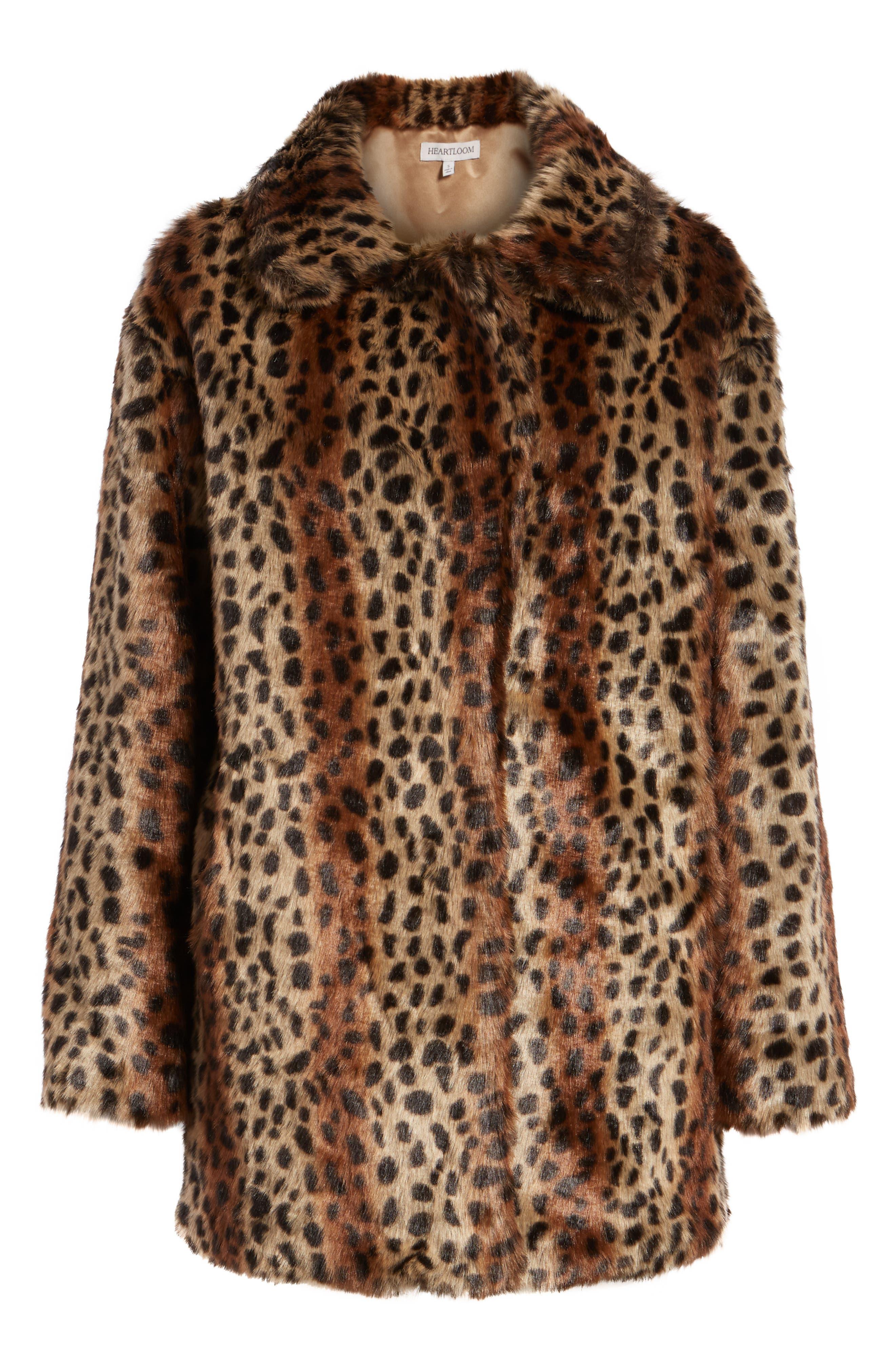 Mika Leopard Faux Fur Jacket,                             Alternate thumbnail 6, color,                             200