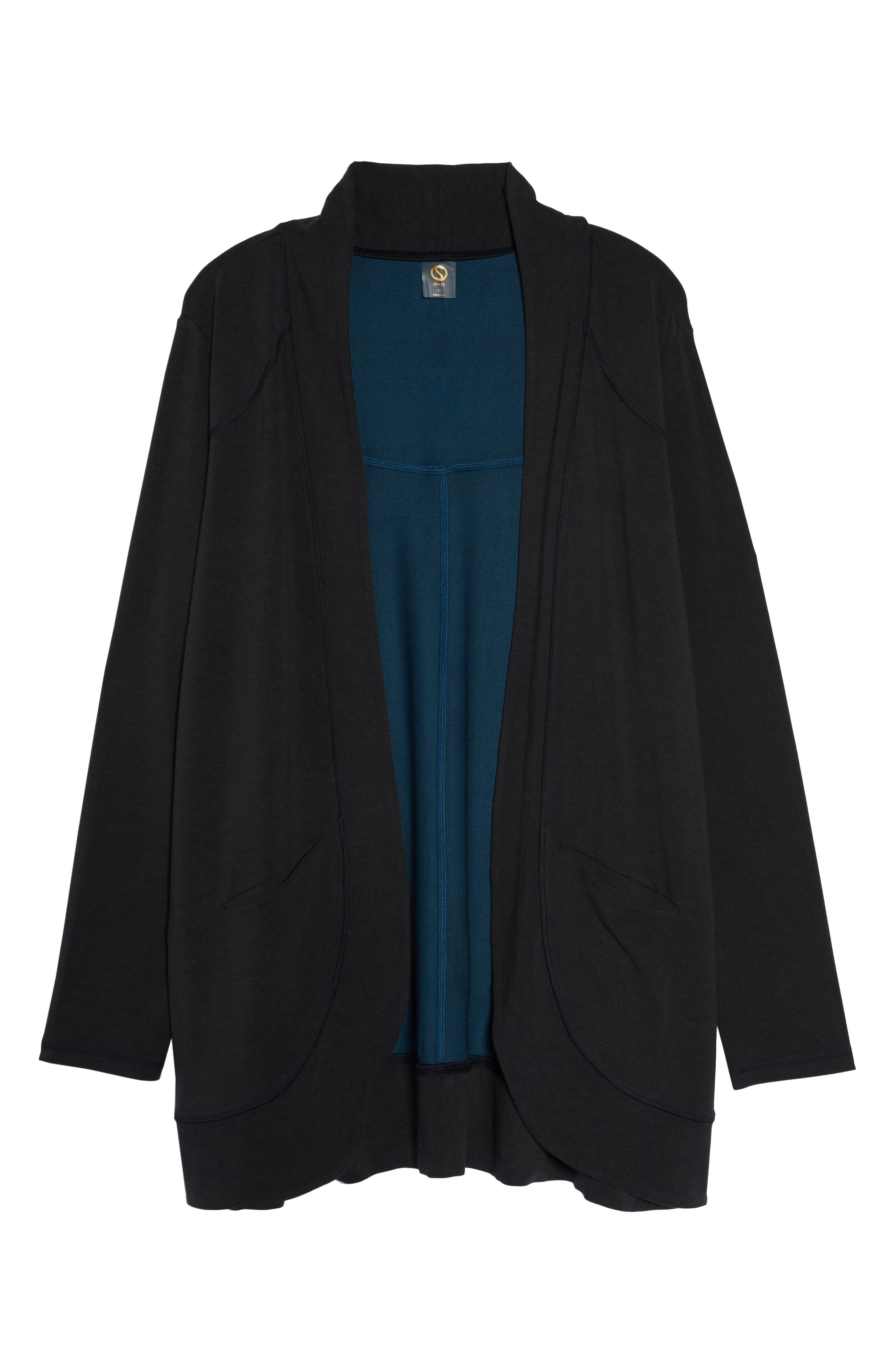 French Terry Cardigan,                             Alternate thumbnail 6, color,                             CHARCOAL BLACK / NAVY