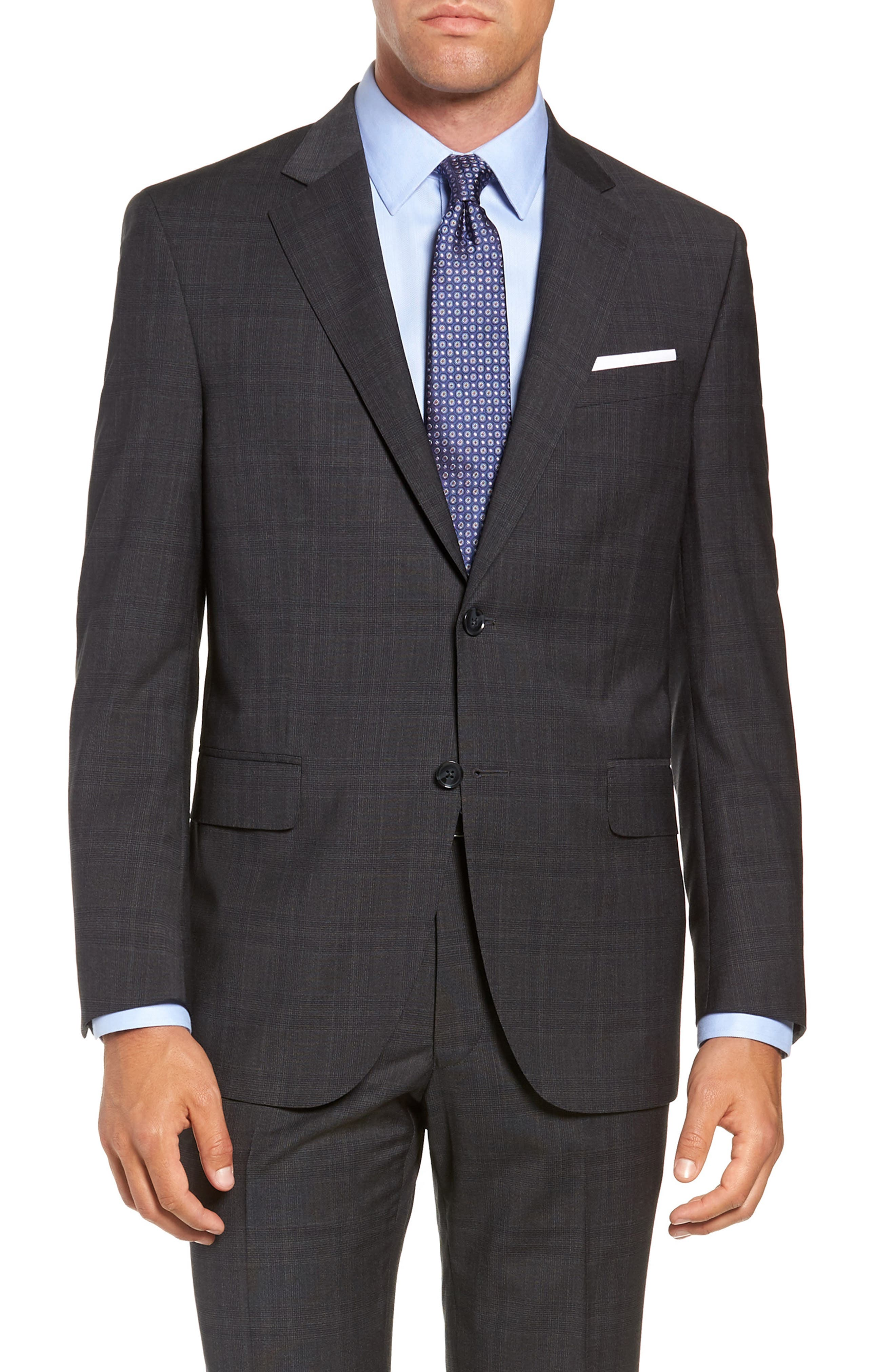 Flynn Classic Fit Plaid Wool Suit,                             Alternate thumbnail 5, color,                             CHARCOAL