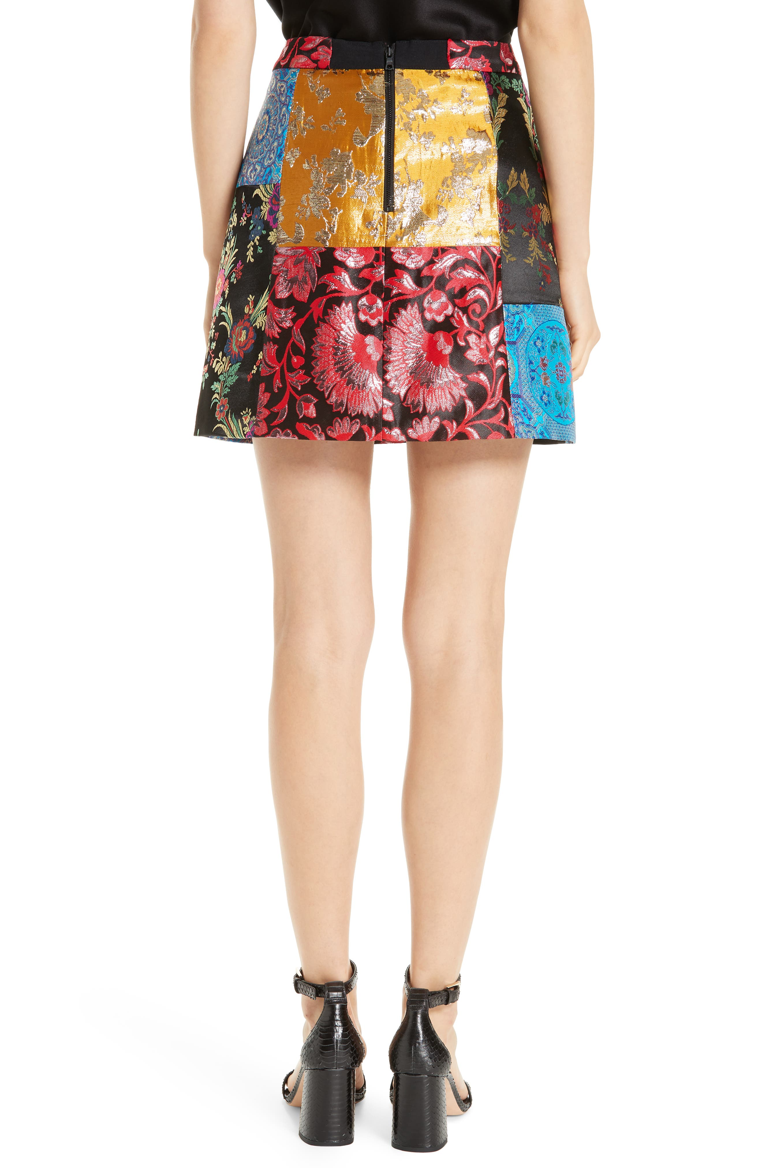 Riley Patchwork Miniskirt,                             Alternate thumbnail 2, color,                             BLACK MULTI
