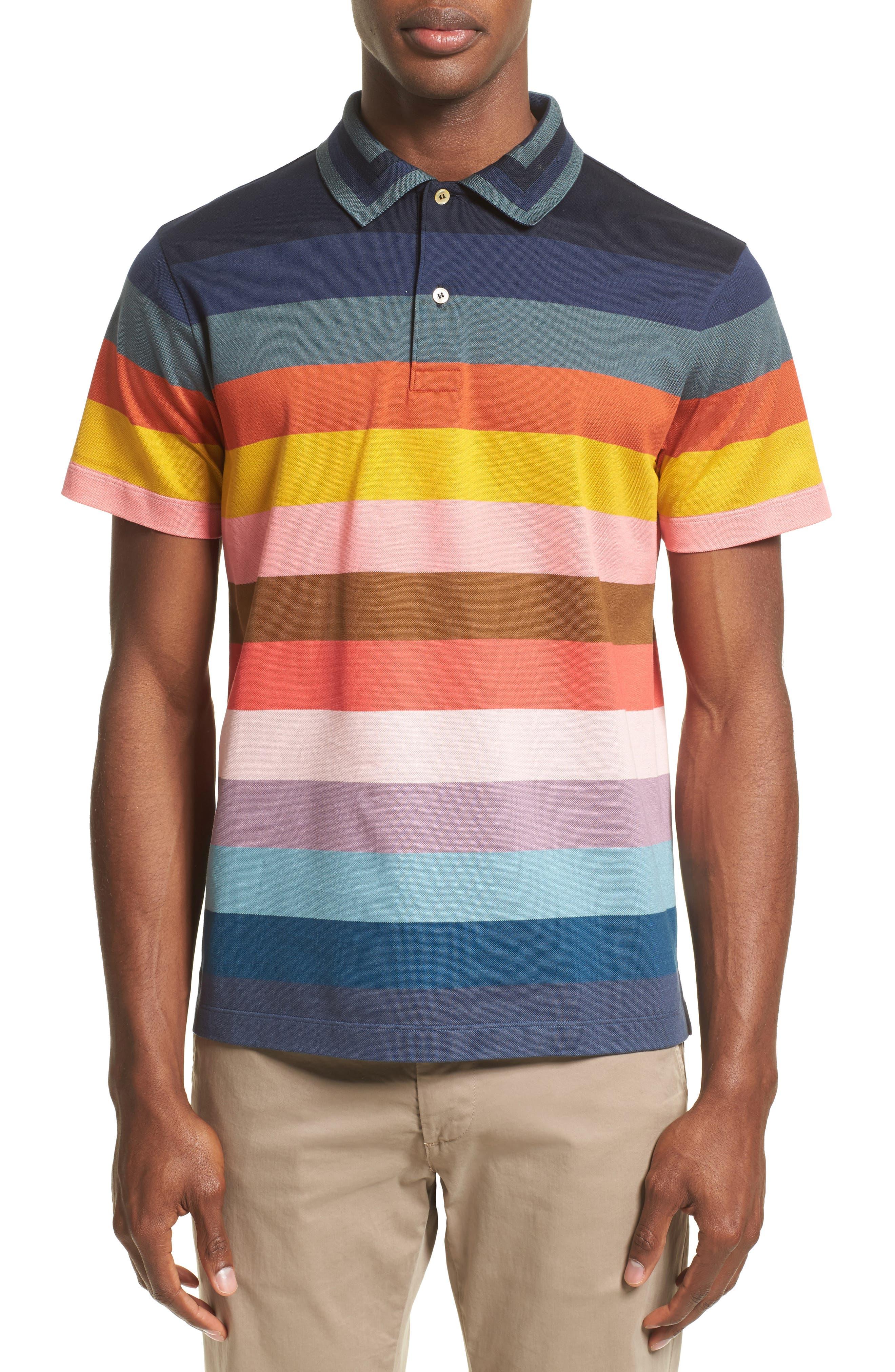 Multi Stripe Piqué Polo,                         Main,                         color, 400