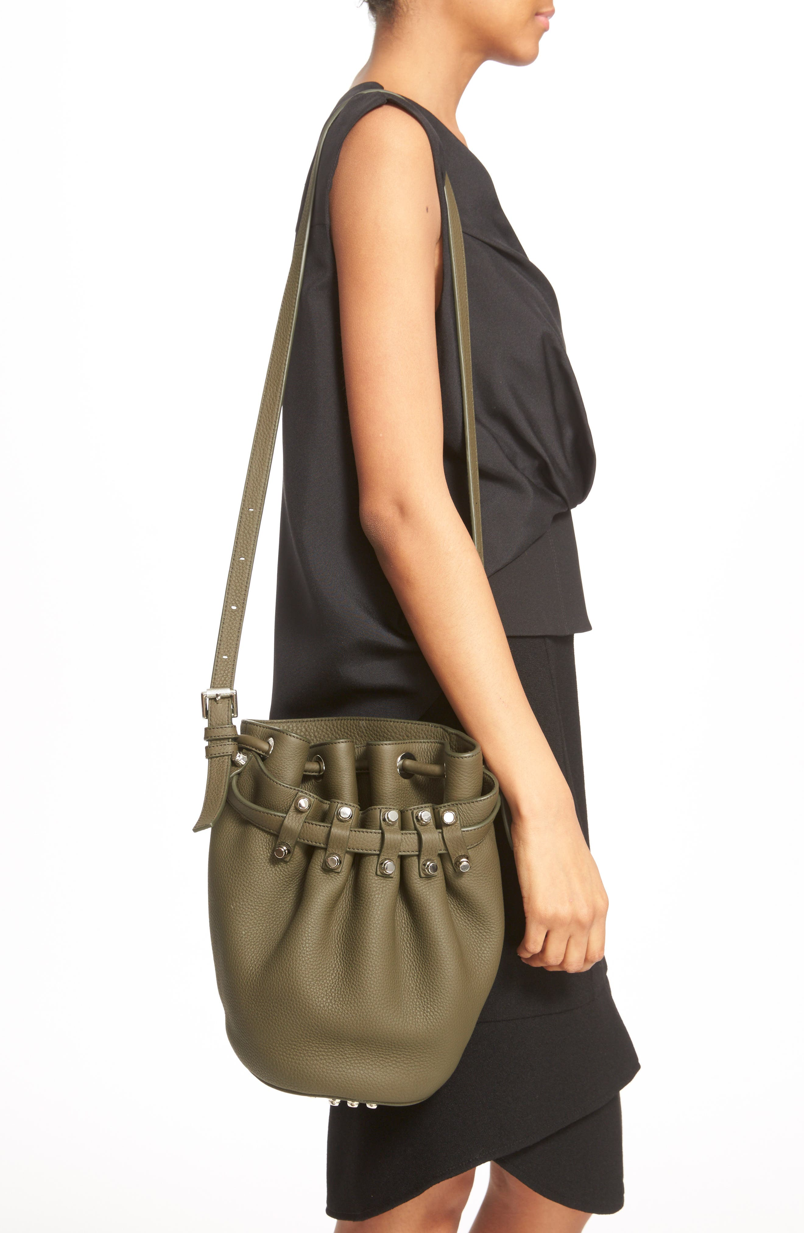 'Small Diego - Nickel' Leather Bucket Bag,                             Alternate thumbnail 4, color,                             342