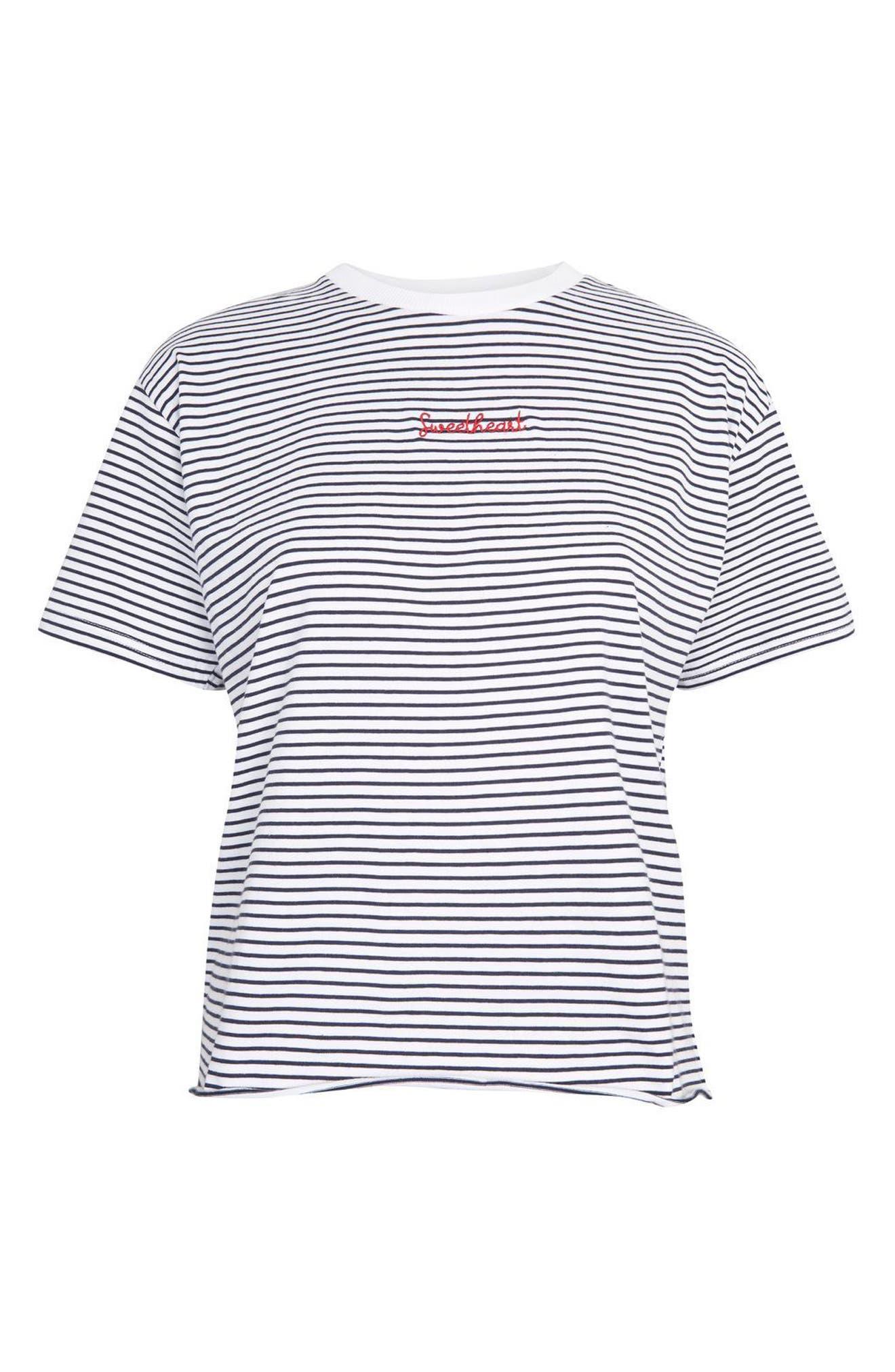 Petite Stripe Sweetheart T-Shirt,                             Alternate thumbnail 4, color,                             100