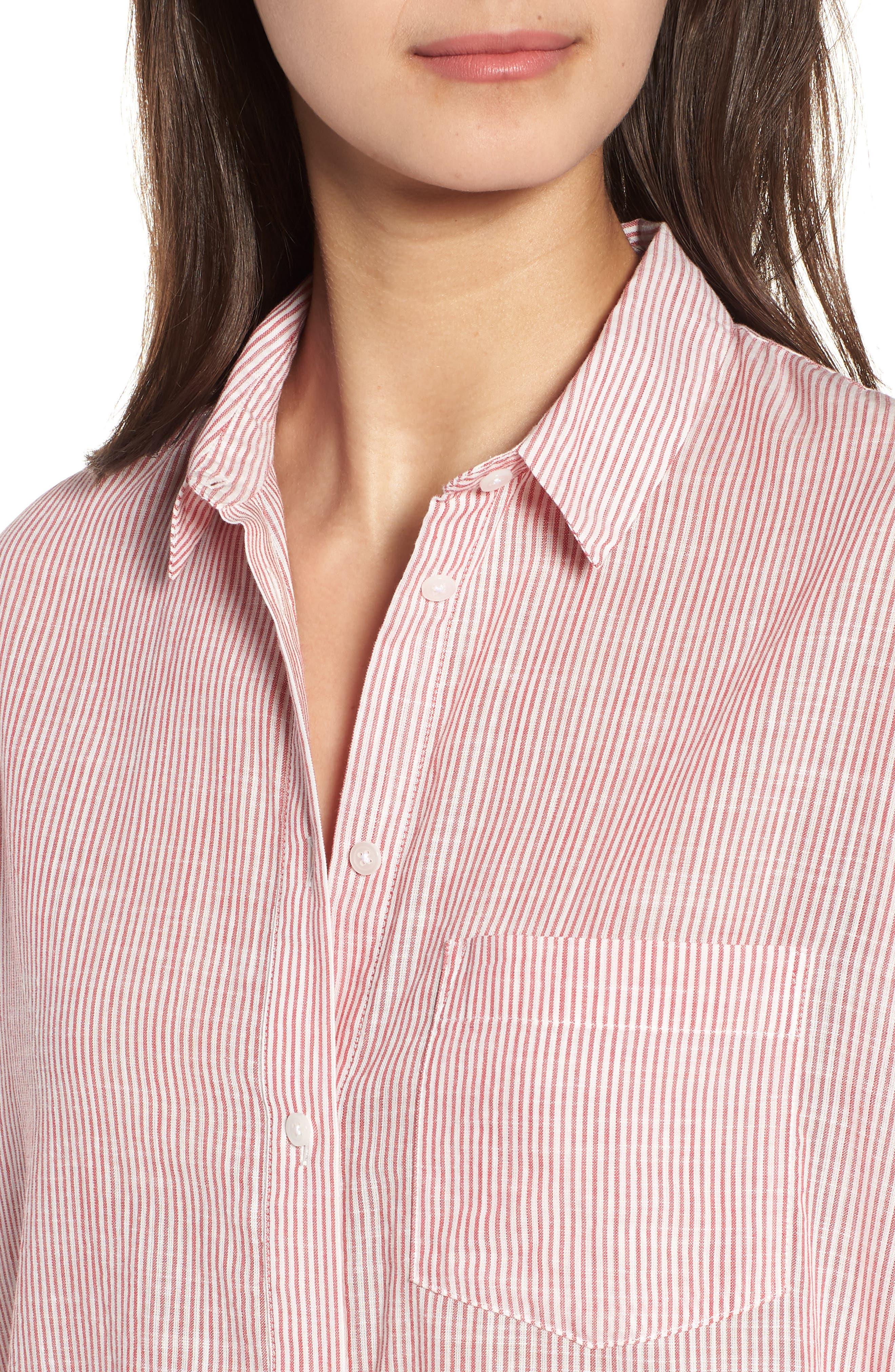 Stripe Oversize Ex-Boyfriend Shirt,                             Alternate thumbnail 4, color,                             600