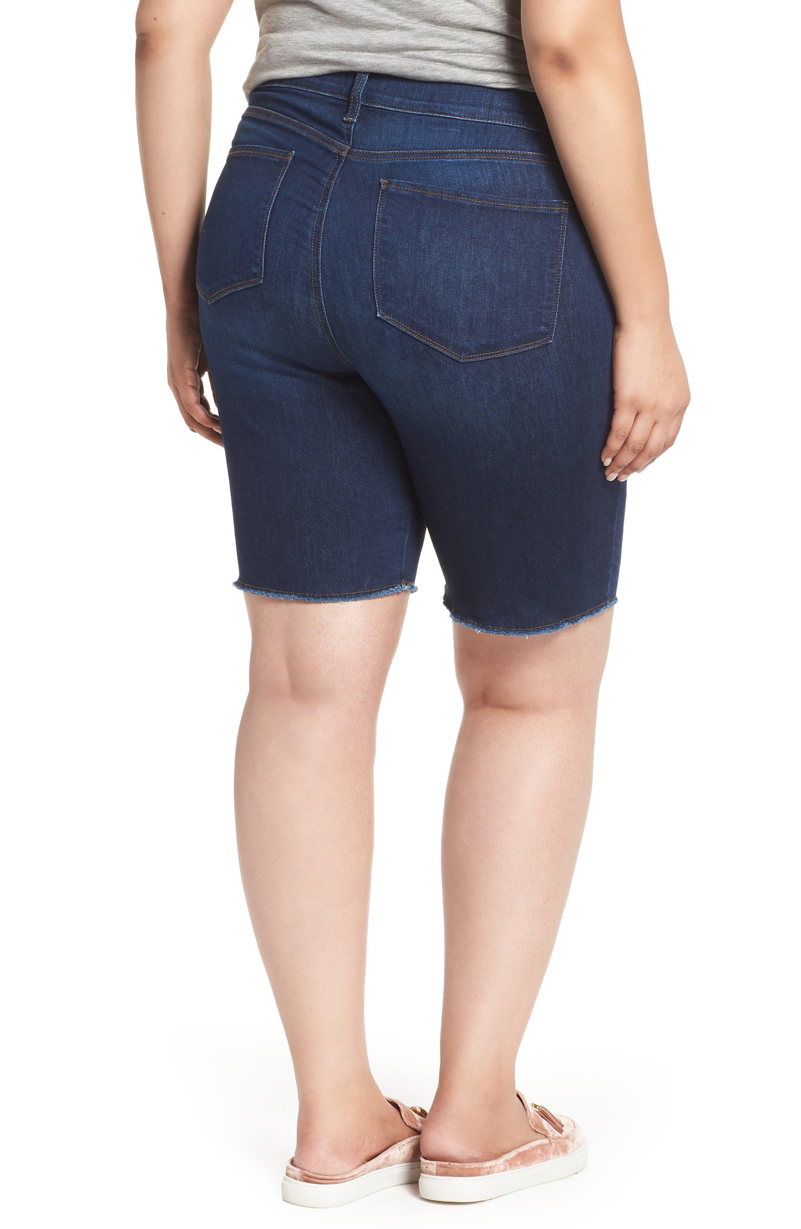 Briella Fray Hem Denim Bermuda Shorts,                             Alternate thumbnail 4, color,