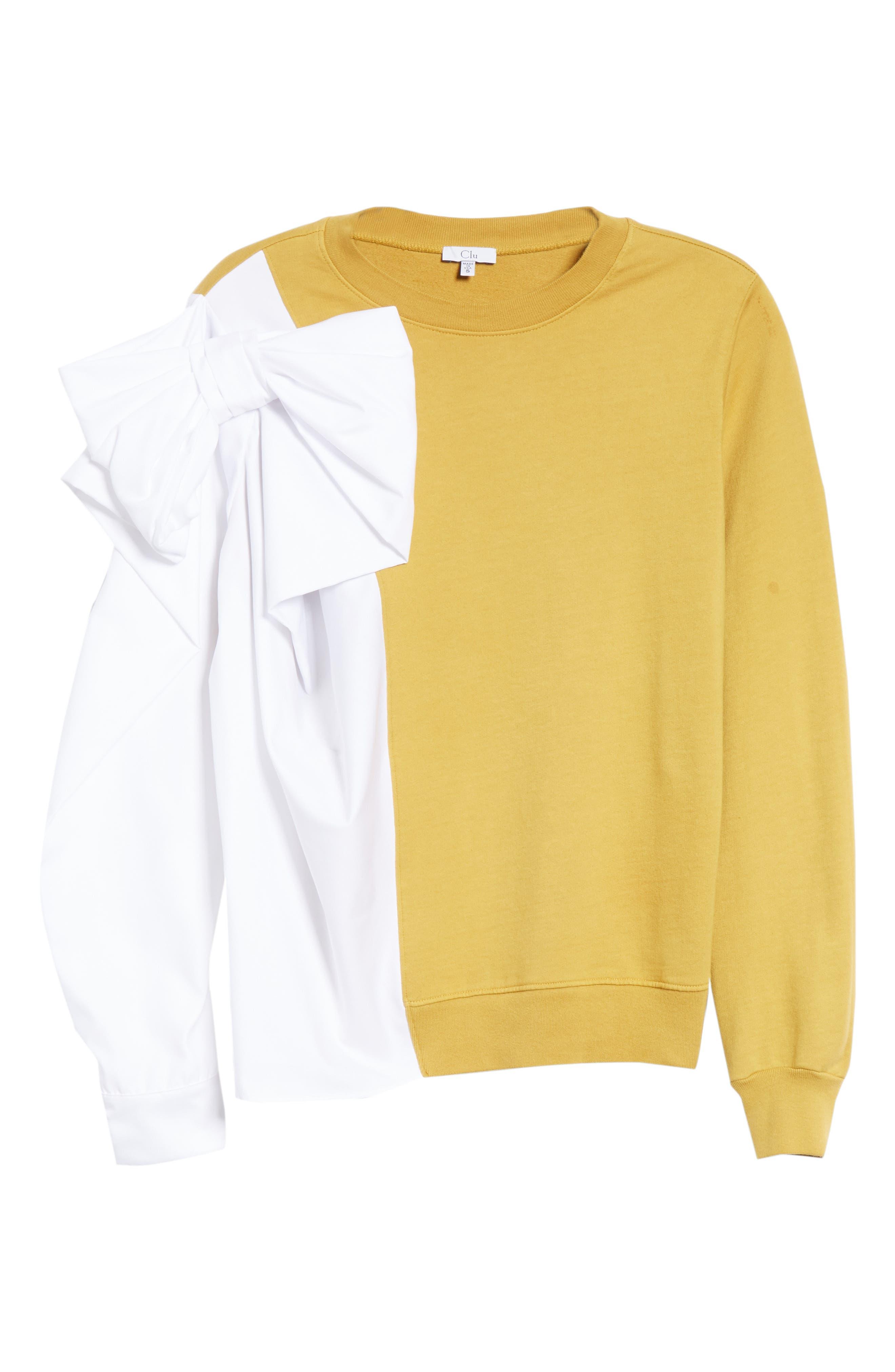 Bow Colorblock Sweatshirt,                             Alternate thumbnail 6, color,                             MUSTARD/ WHITE
