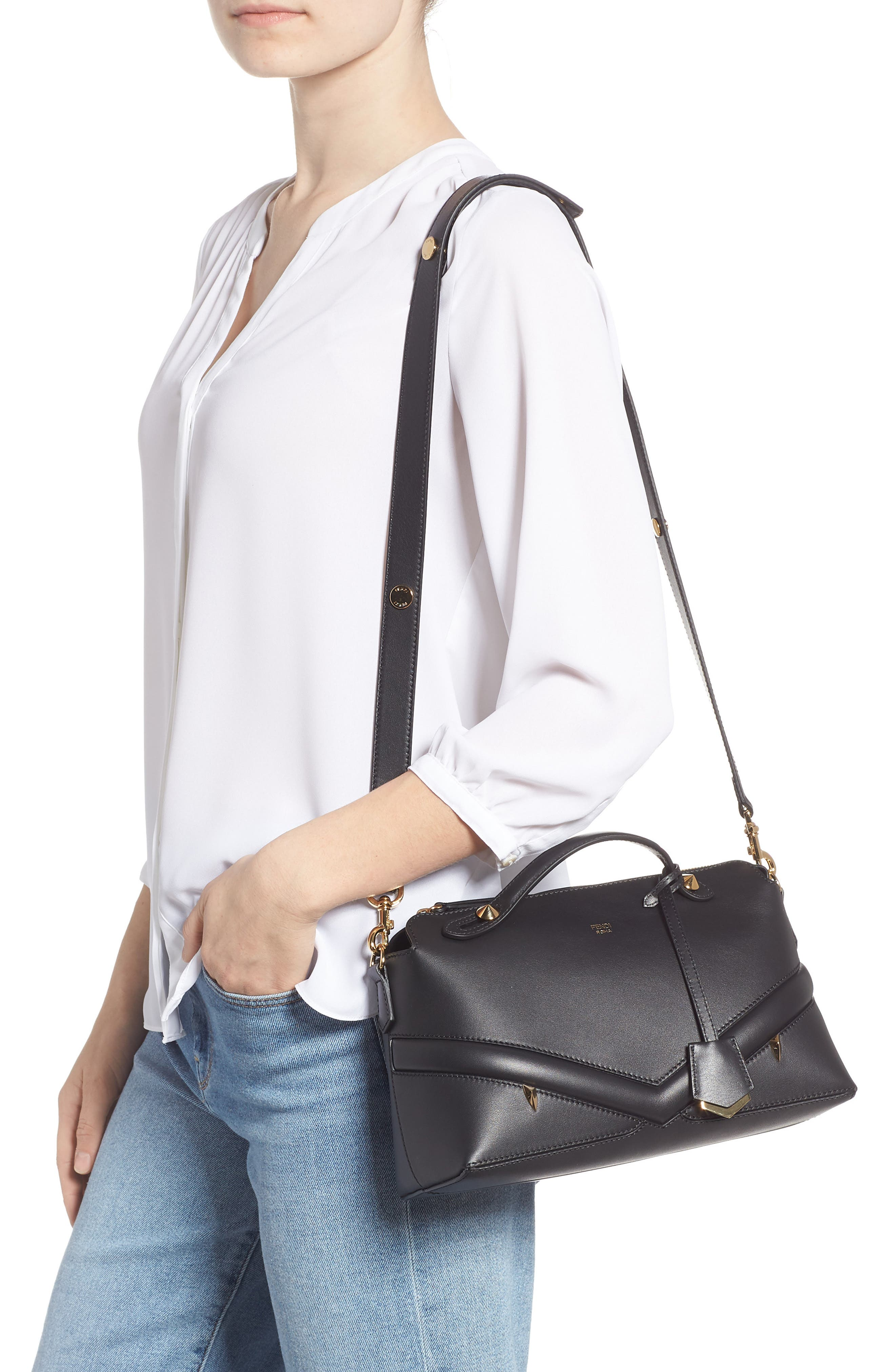 By the Way - Wonders Convertible Leather Shoulder Bag,                             Alternate thumbnail 2, color,                             NERO/ ORO SOFT