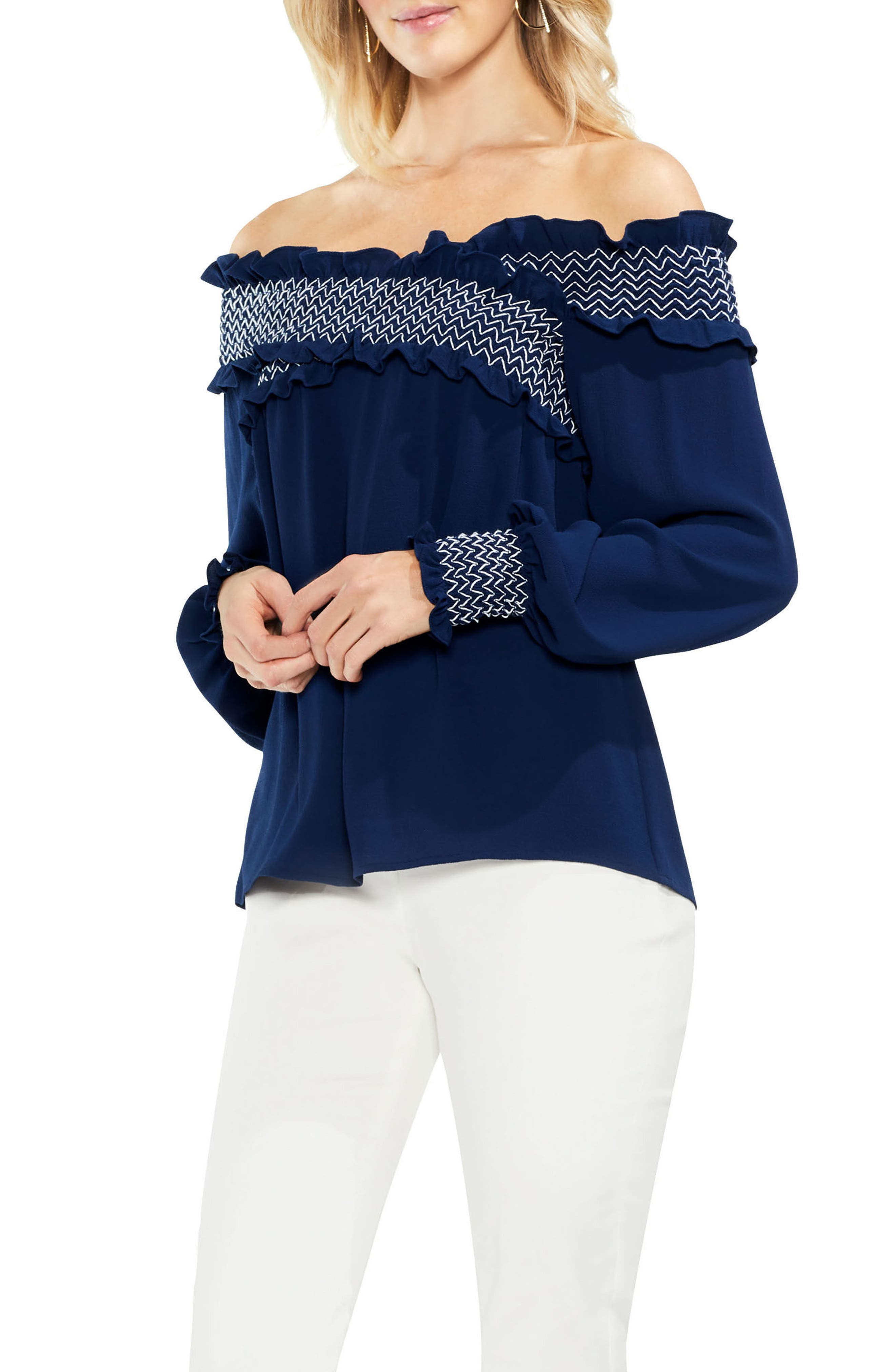 Smocked Cross Front Off the Shoulder Blouse,                             Main thumbnail 2, color,