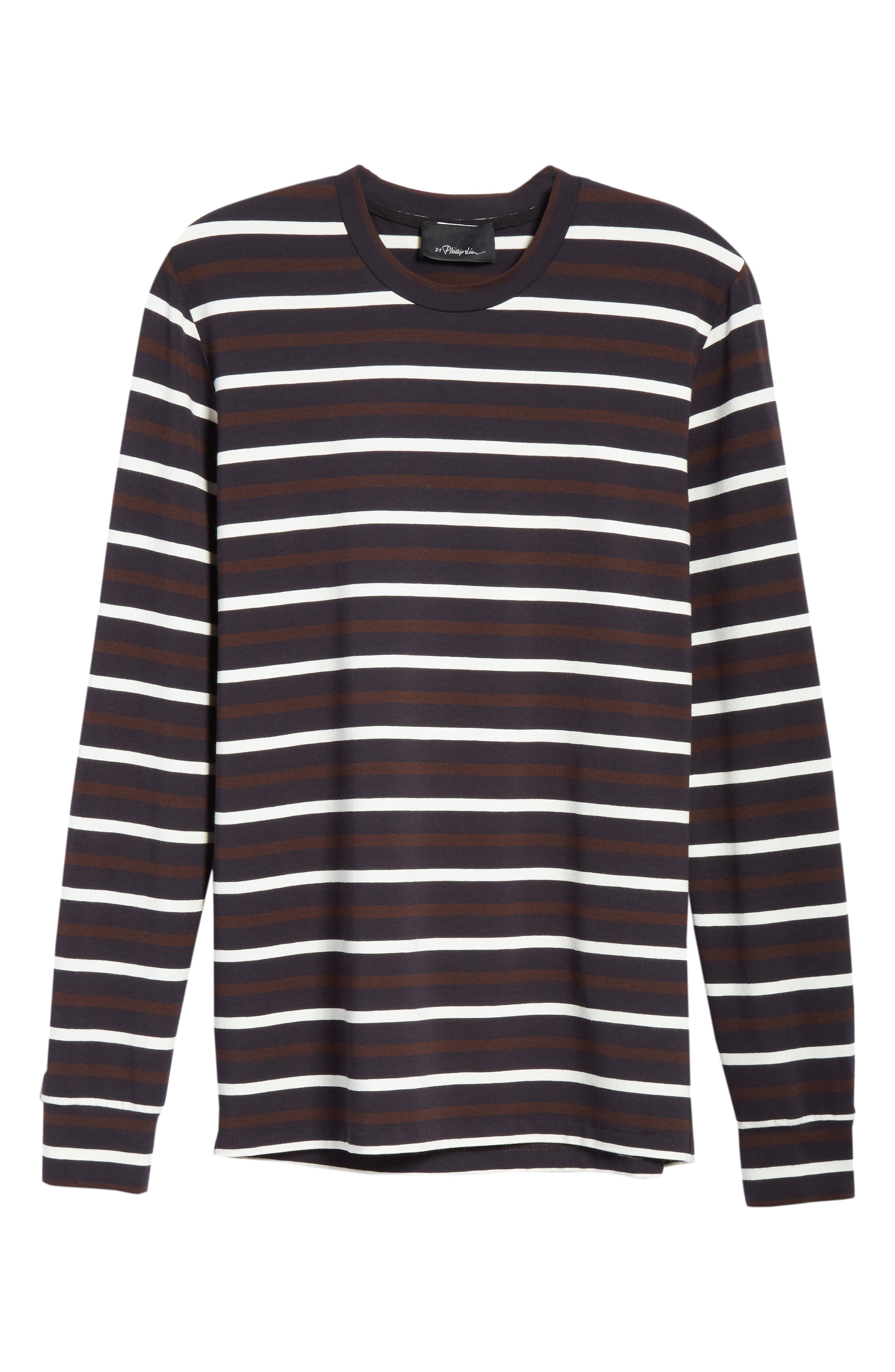 Technical Stripe Long Sleeve T-Shirt,                             Alternate thumbnail 6, color,                             BROWN
