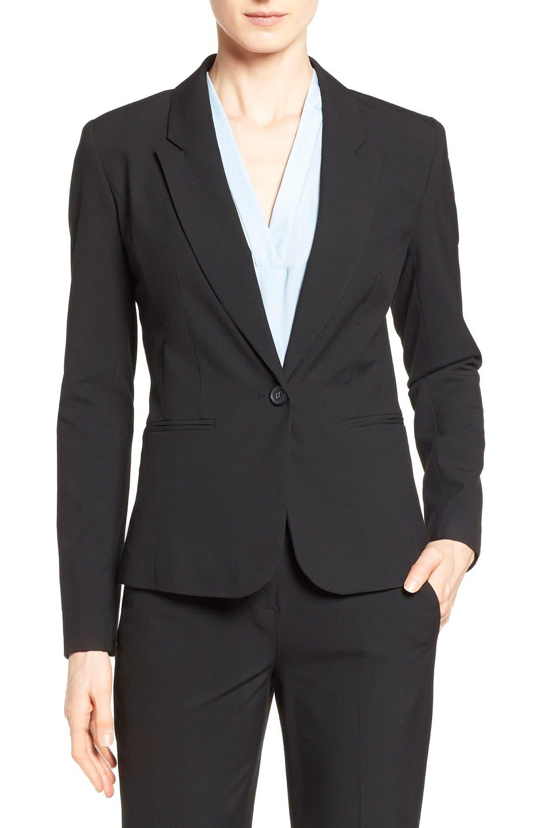 One-Button Stretch Suit Jacket,                         Main,                         color, 001
