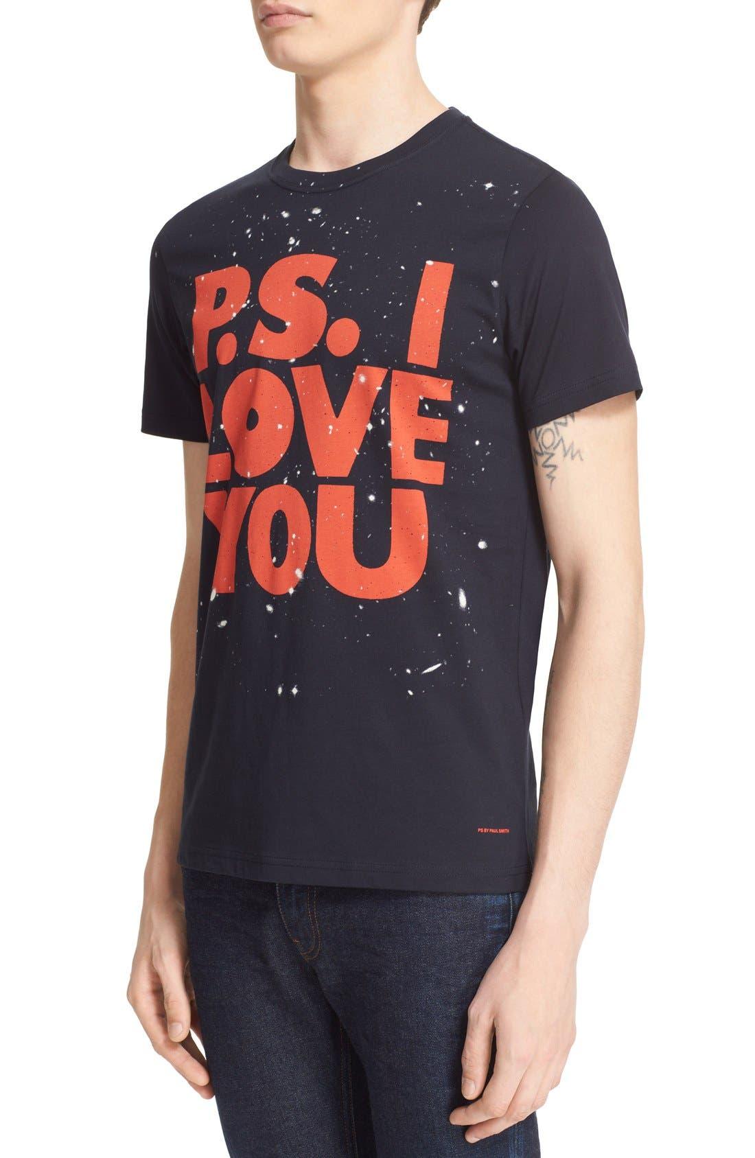 Paul Smith 'P.S. I Love You' Graphic Cotton T-Shirt,                             Alternate thumbnail 3, color,                             414