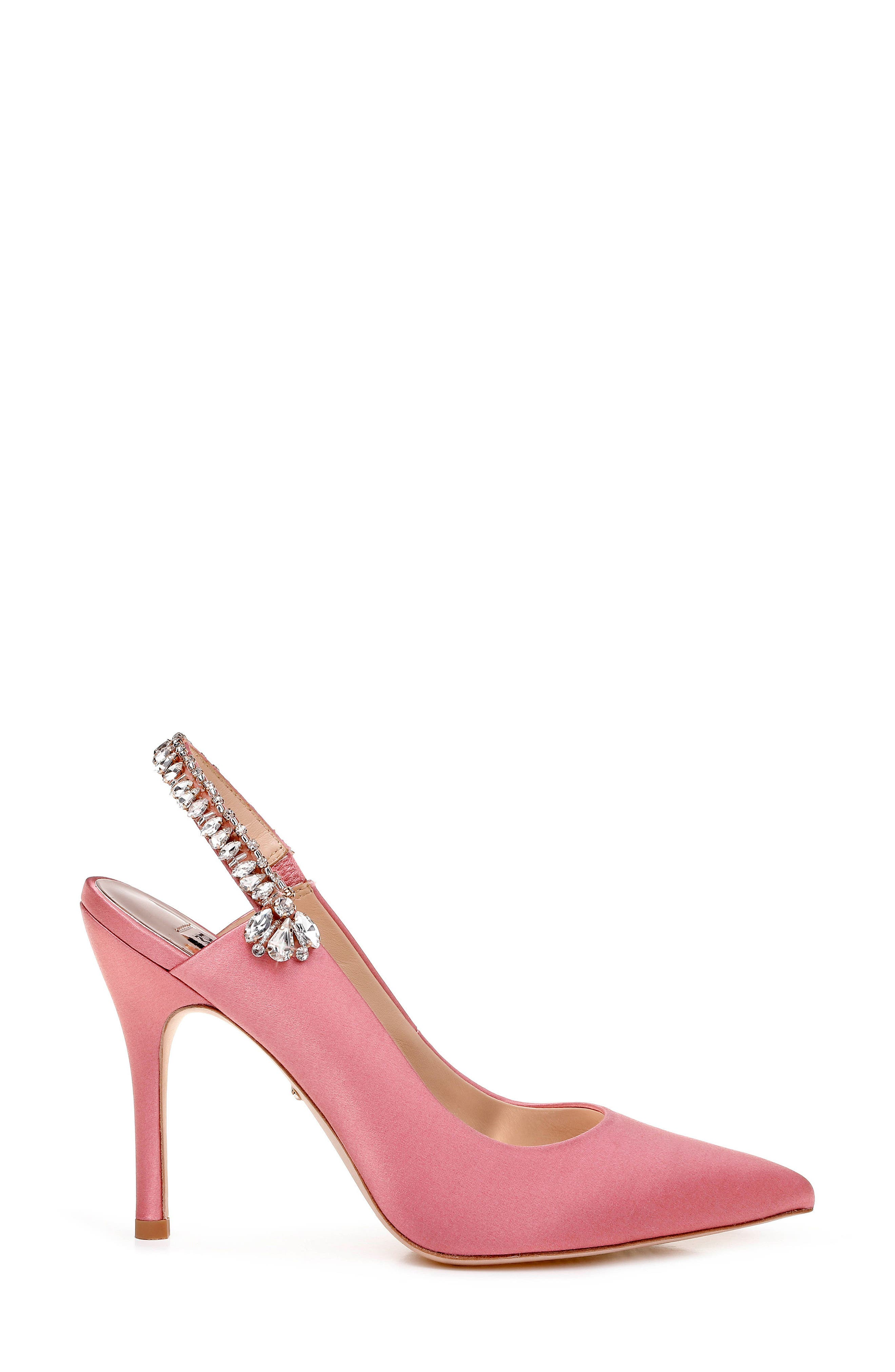 Paxton Pointy Toe Slingback Pump,                             Alternate thumbnail 3, color,                             ROSE SATIN