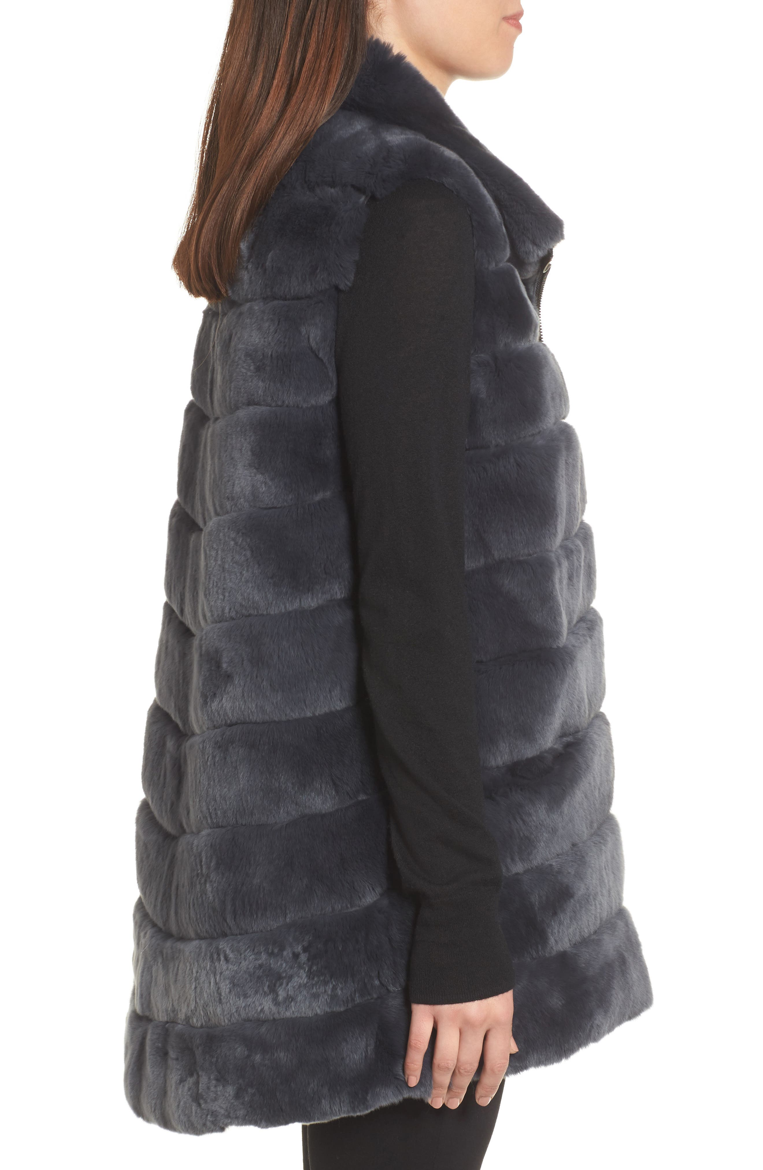 Reversible Genuine Rabbit Fur Vest,                             Alternate thumbnail 3, color,                             410