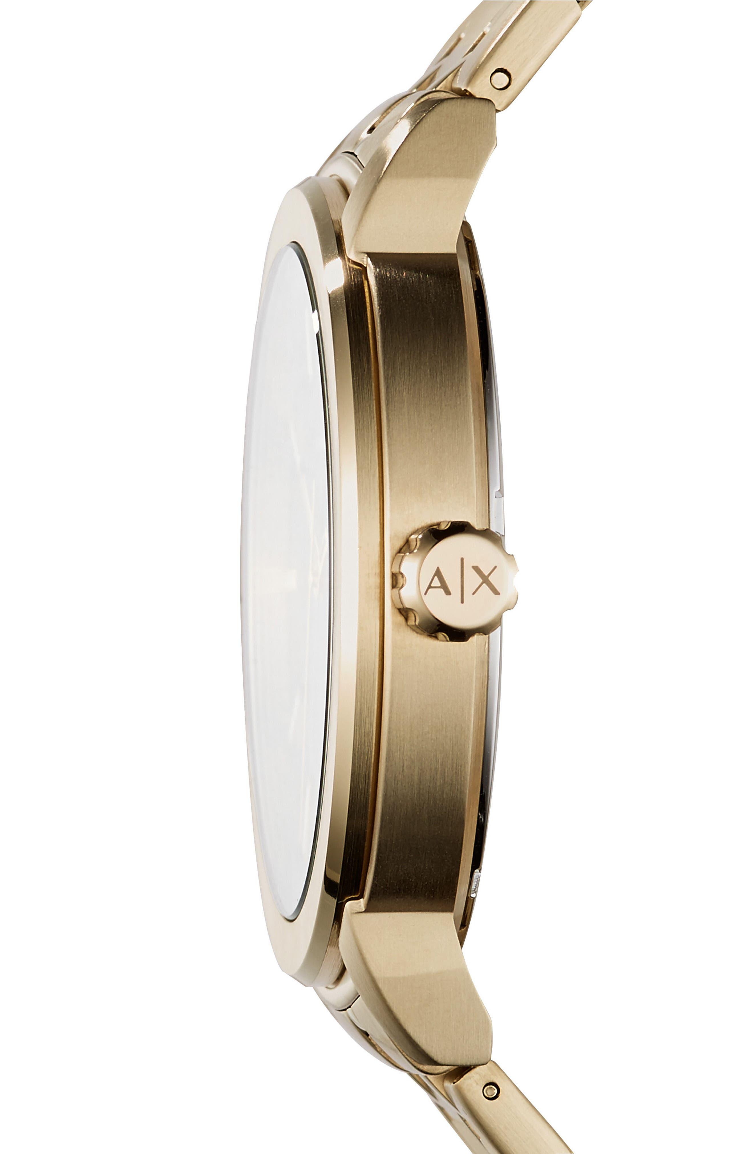 Bracelet Watch, 46mm,                             Alternate thumbnail 2, color,                             BLACK/ GOLD