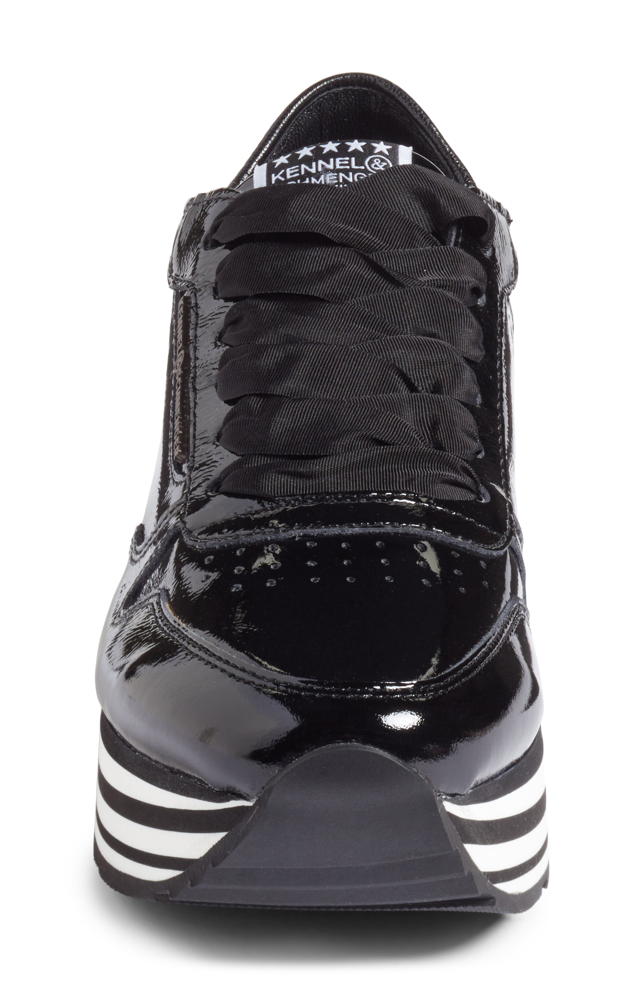 Kennel & Schmenger Nova Patent Leather Sneaker,                             Alternate thumbnail 4, color,                             001