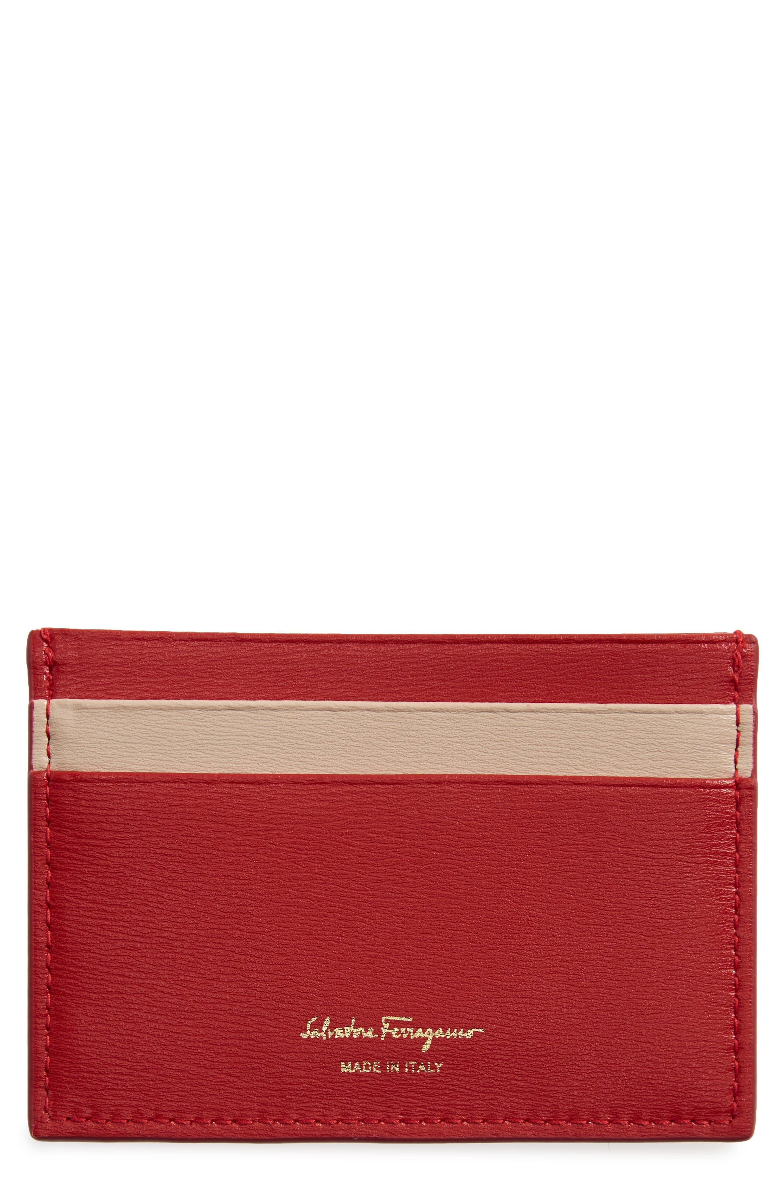 SALVATORE FERRAGAMO,                             City Quilted Gancio Leather Card Case,                             Main thumbnail 1, color,                             LIPSTICK
