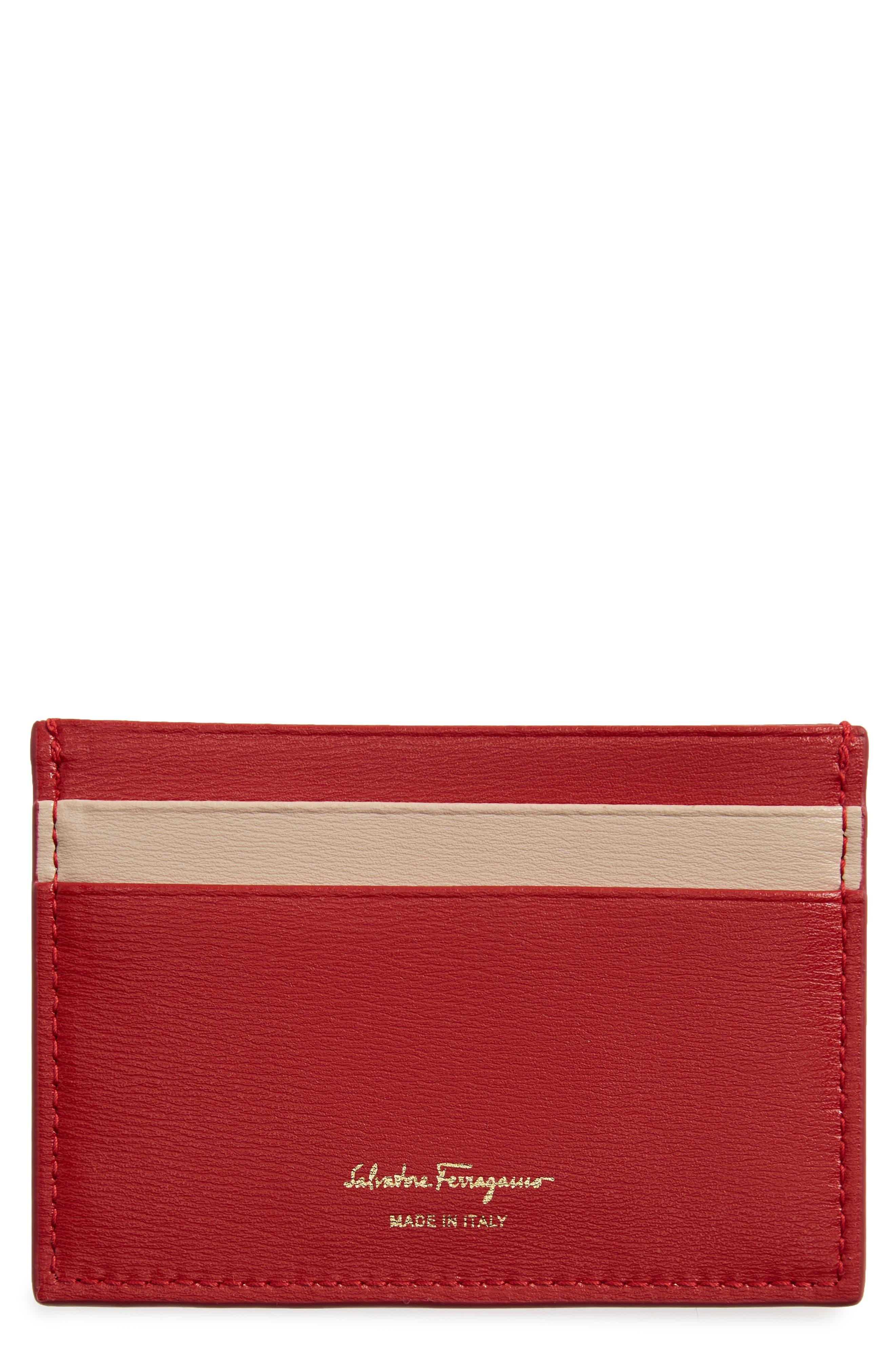 SALVATORE FERRAGAMO City Quilted Gancio Leather Card Case, Main, color, LIPSTICK