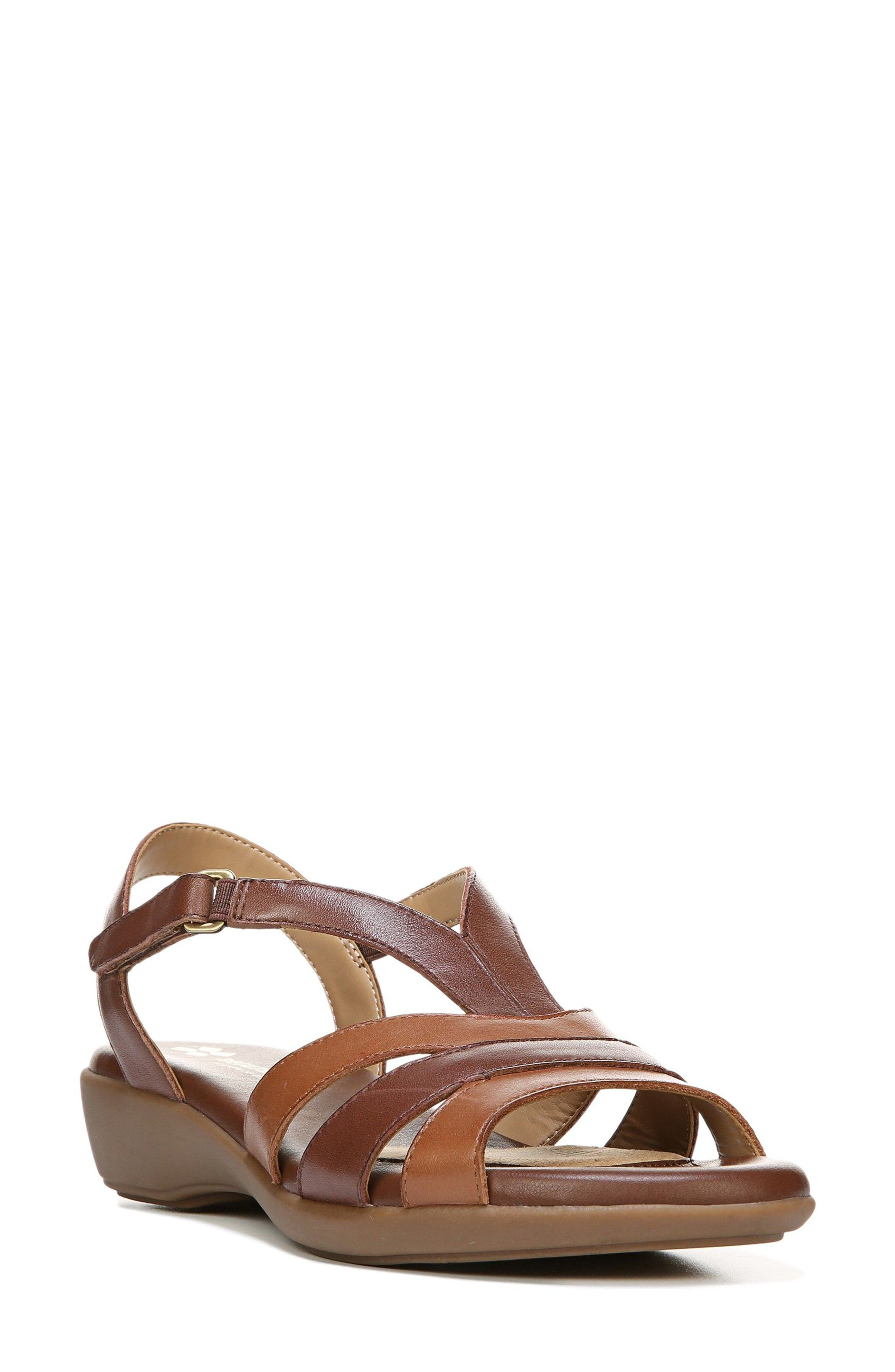 Neina Sandal,                         Main,                         color, BROWN LEATHER