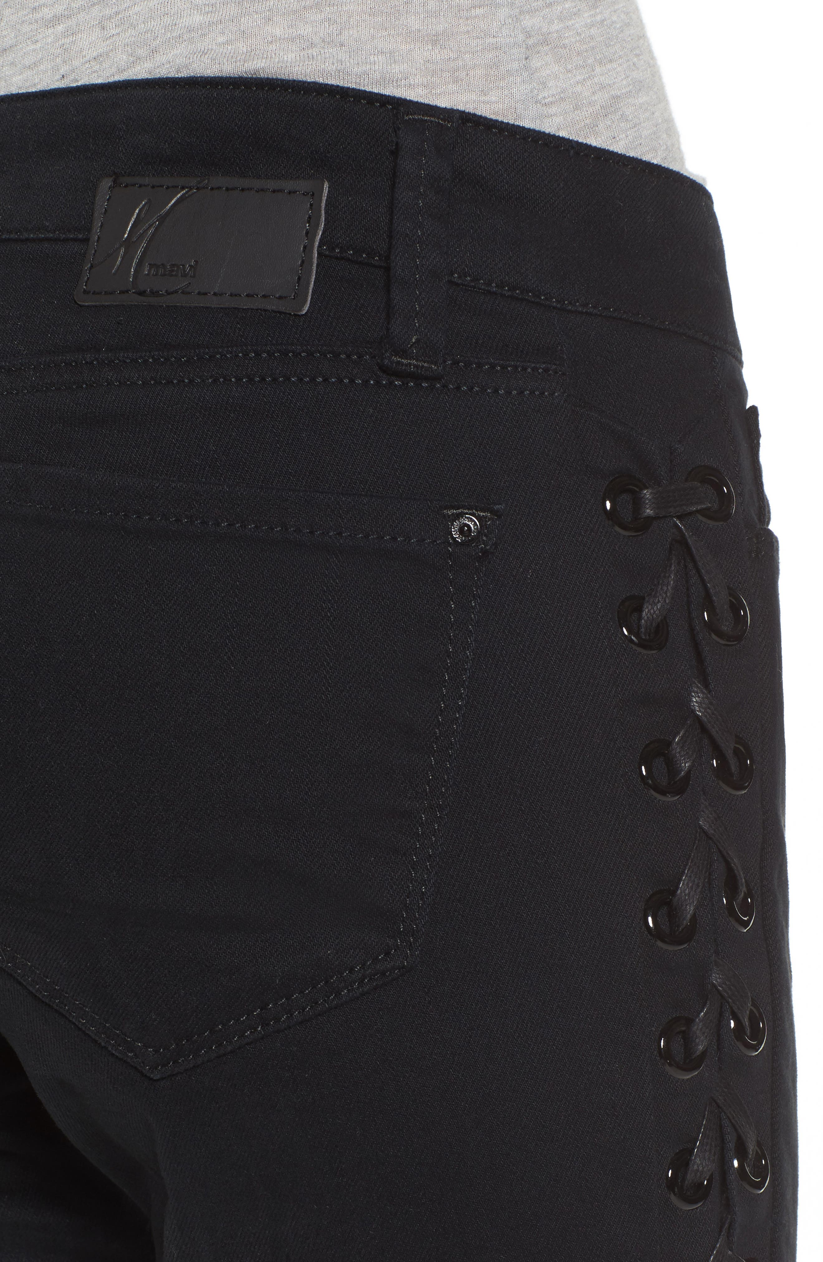Adriana Lace-Up Super Skinny Jeans,                             Alternate thumbnail 4, color,                             001