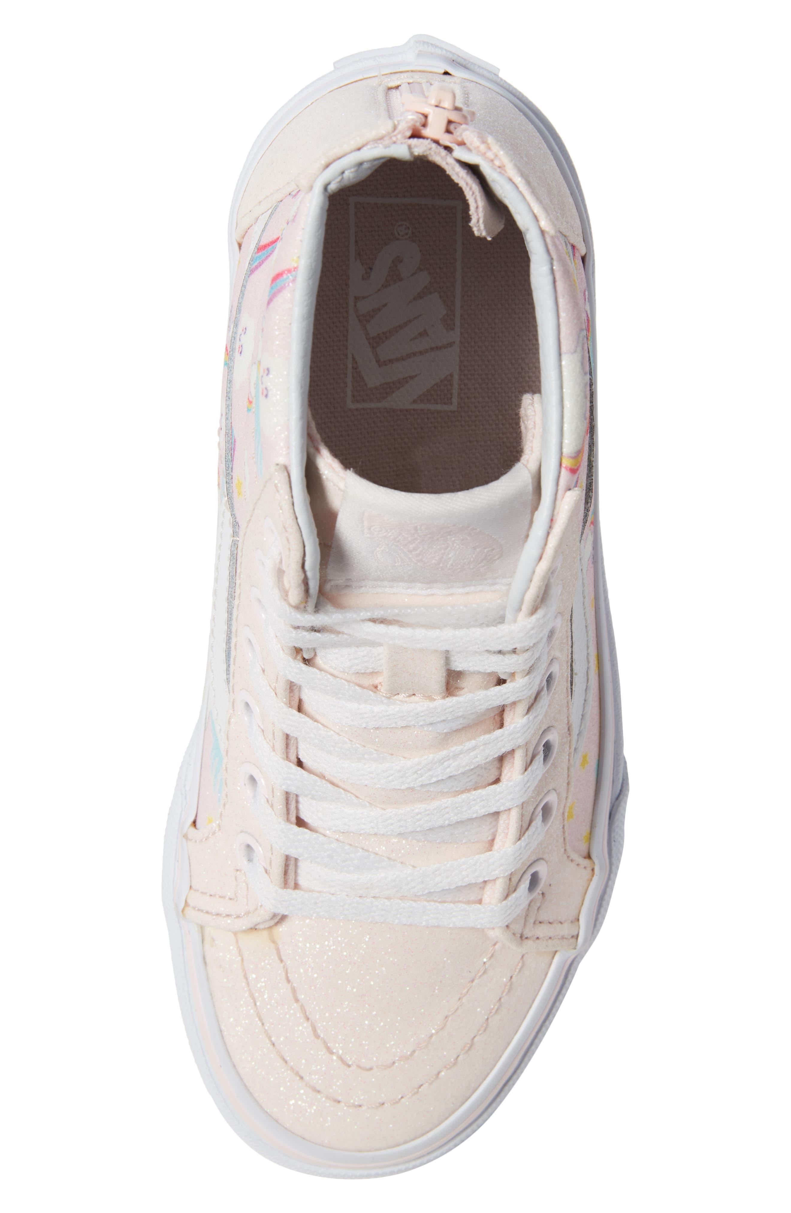 Sk8-Hi Zip Sneaker,                             Alternate thumbnail 5, color,                             GLITTER PEGASUS PINK/ WHITE