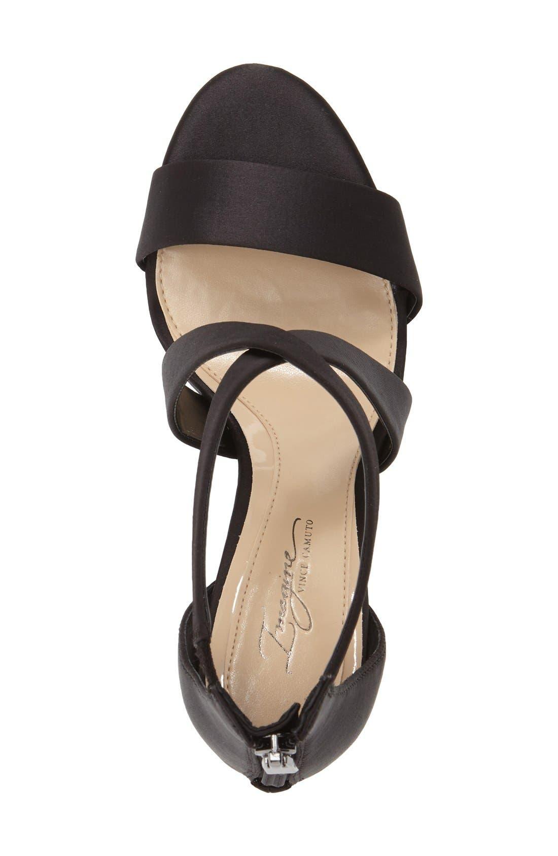 'Pascal' Sandal,                             Alternate thumbnail 4, color,                             BLACK SATIN