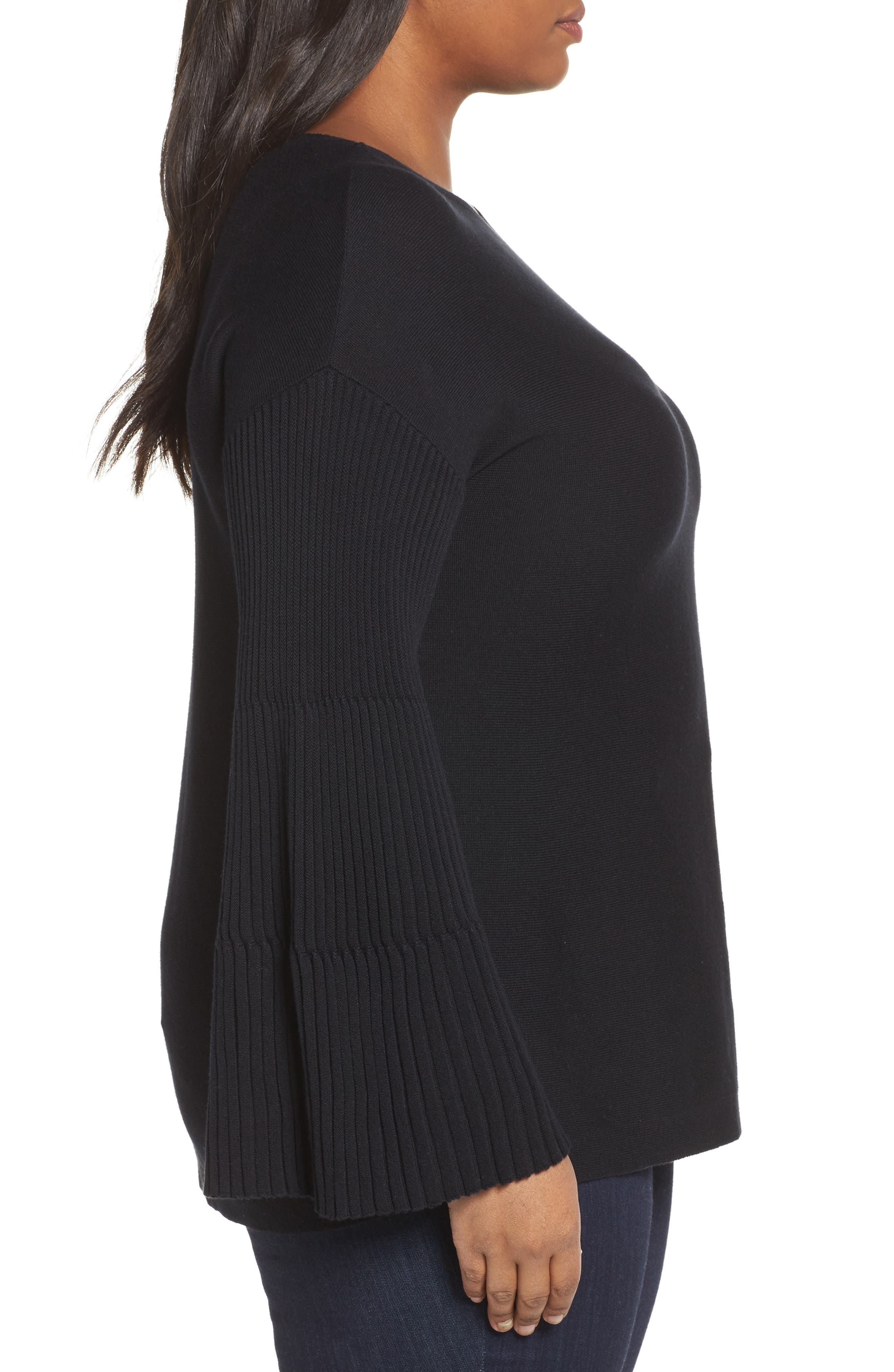 Ribbed Bell Sleeve Sweater,                             Alternate thumbnail 3, color,                             019