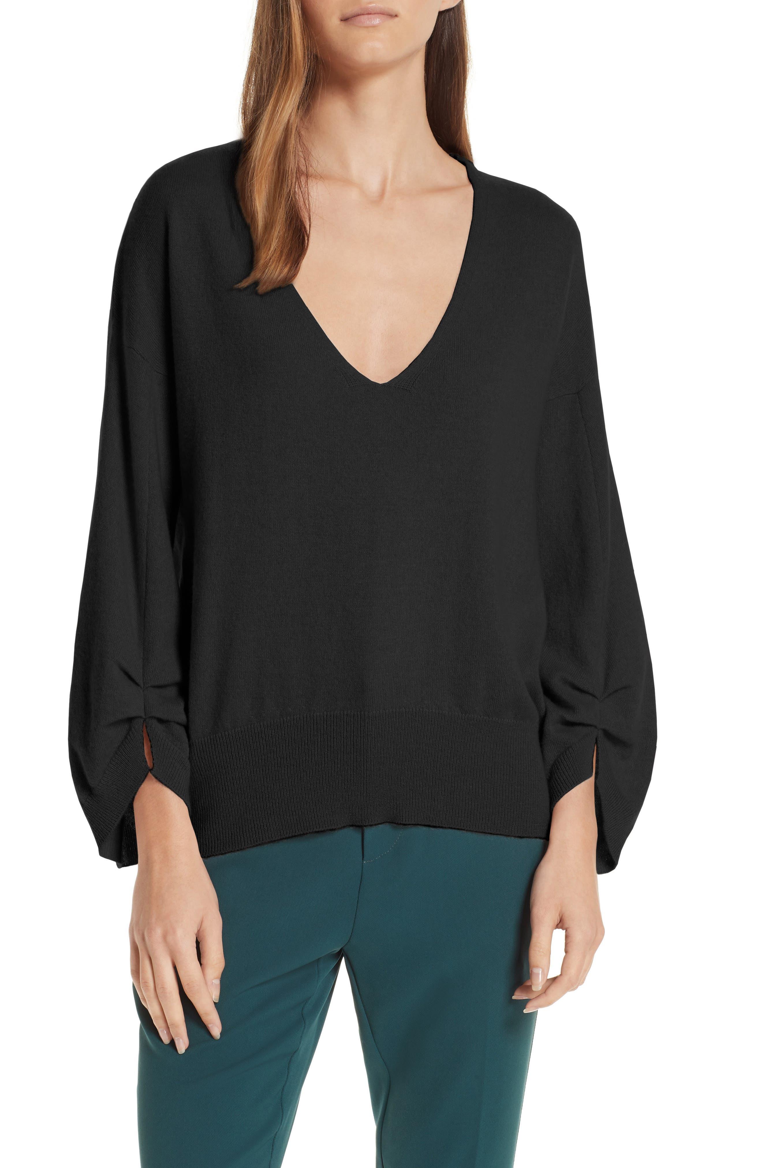 Brochu Walker Casimir Cashmere Pullover Sweater, Black