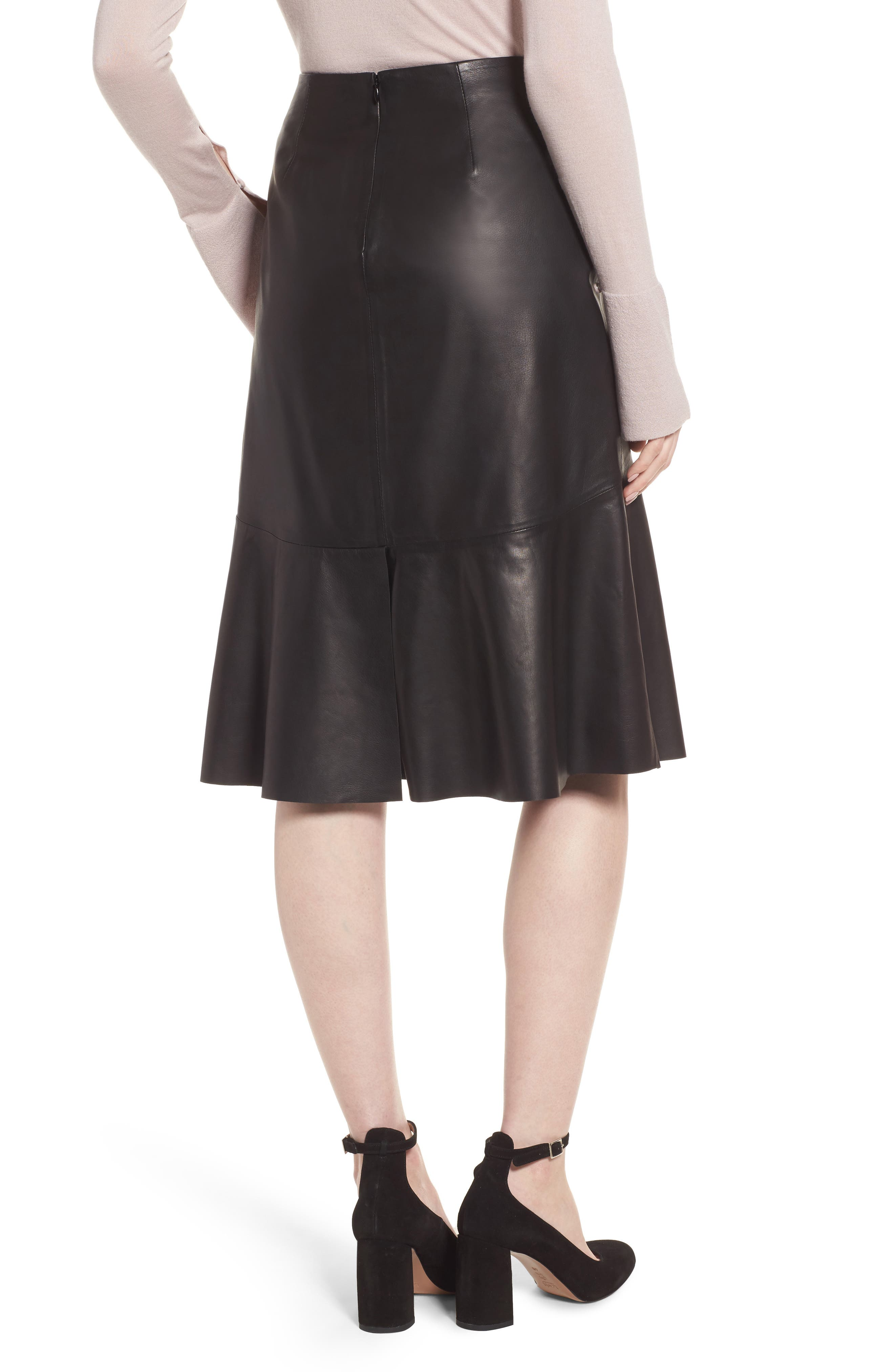 Button Detail A-Line Leather Skirt,                             Alternate thumbnail 2, color,                             001