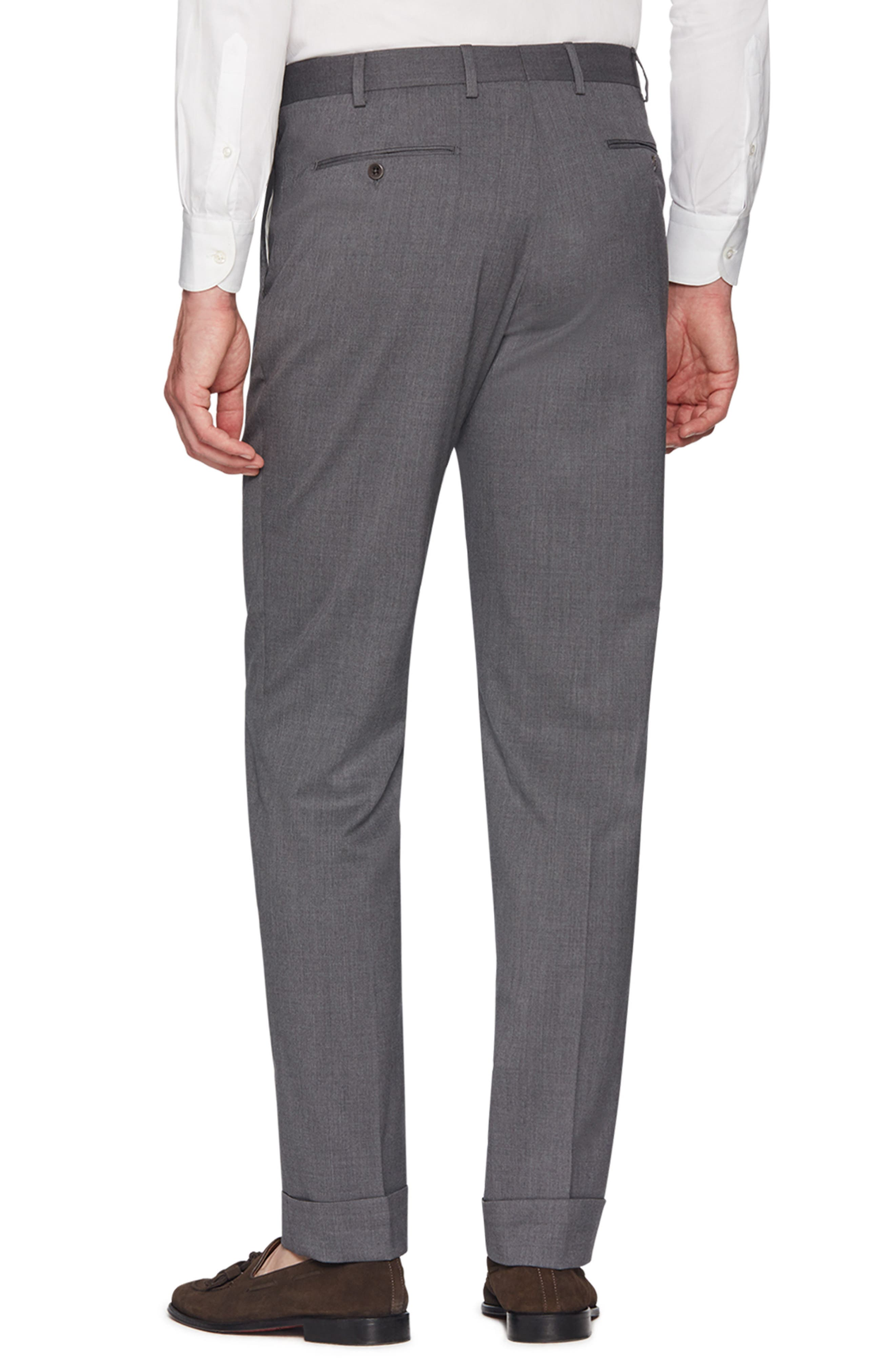 Devon Flat Front Stretch Solid Wool Trousers,                             Alternate thumbnail 2, color,                             LIGHT GREY