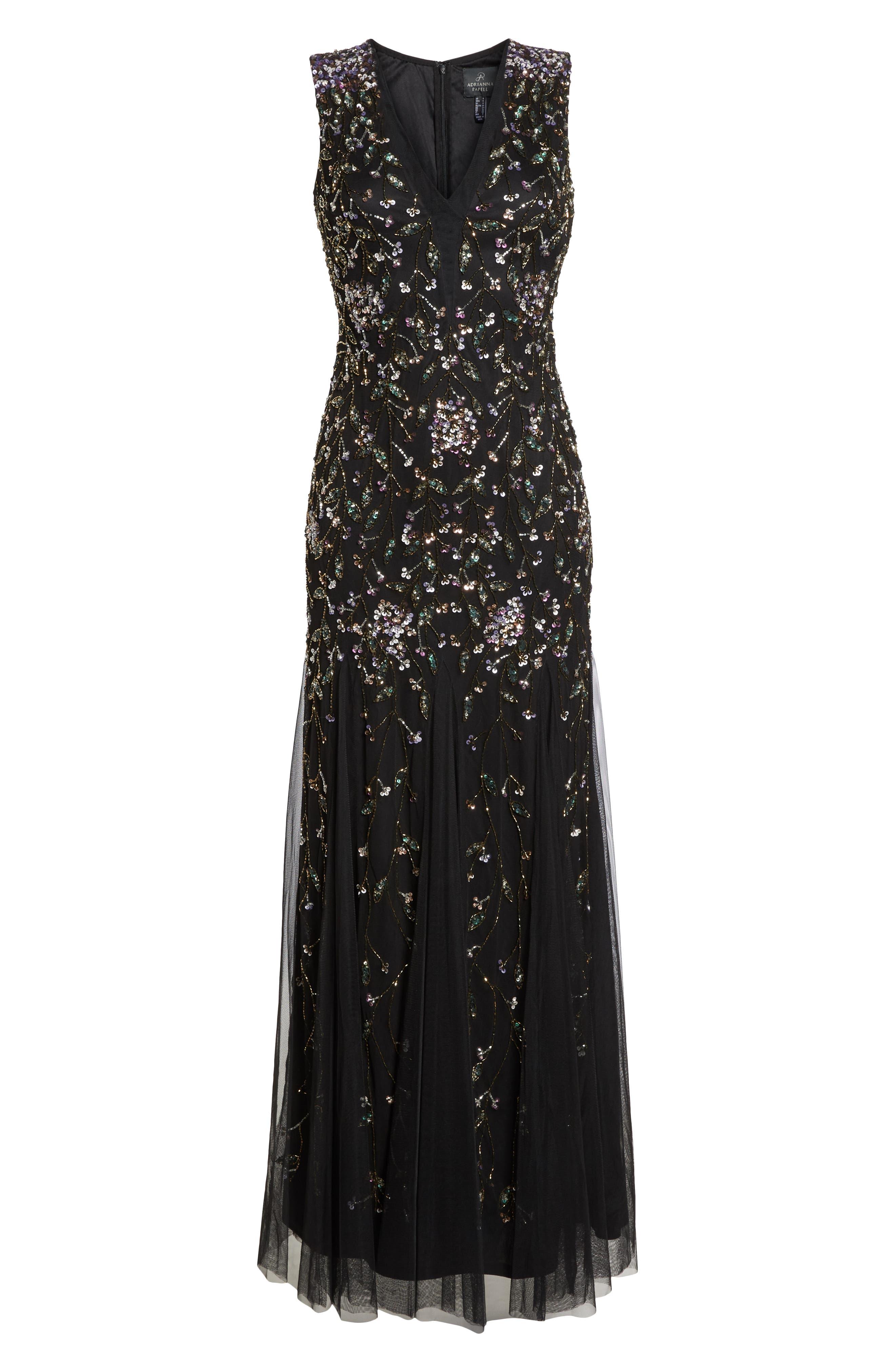 Beaded Gown,                             Alternate thumbnail 8, color,                             BLACK MULTI