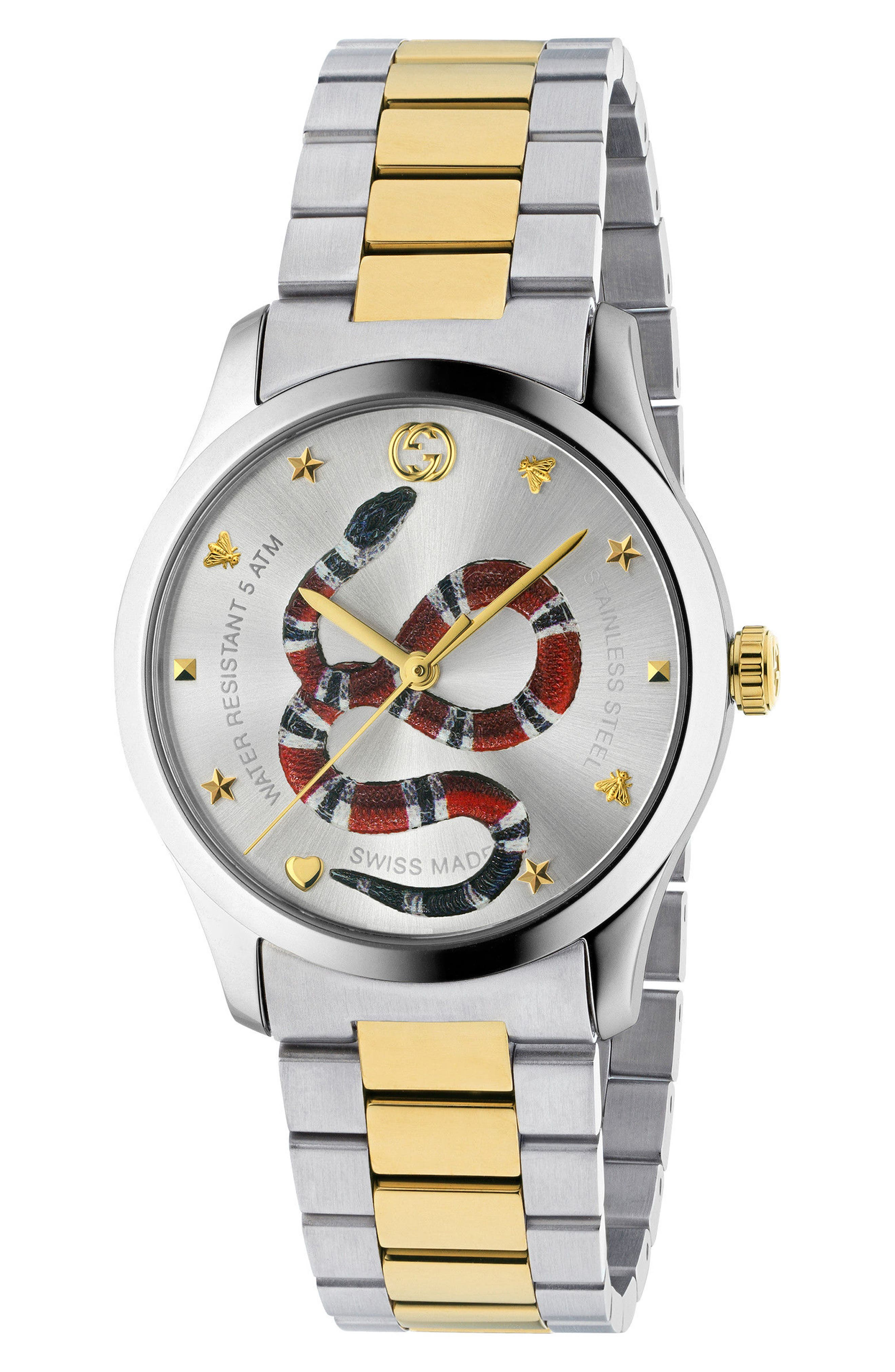 G-Timeless Bracelet Watch, 38mm,                             Main thumbnail 1, color,                             SILVER/ GOLD