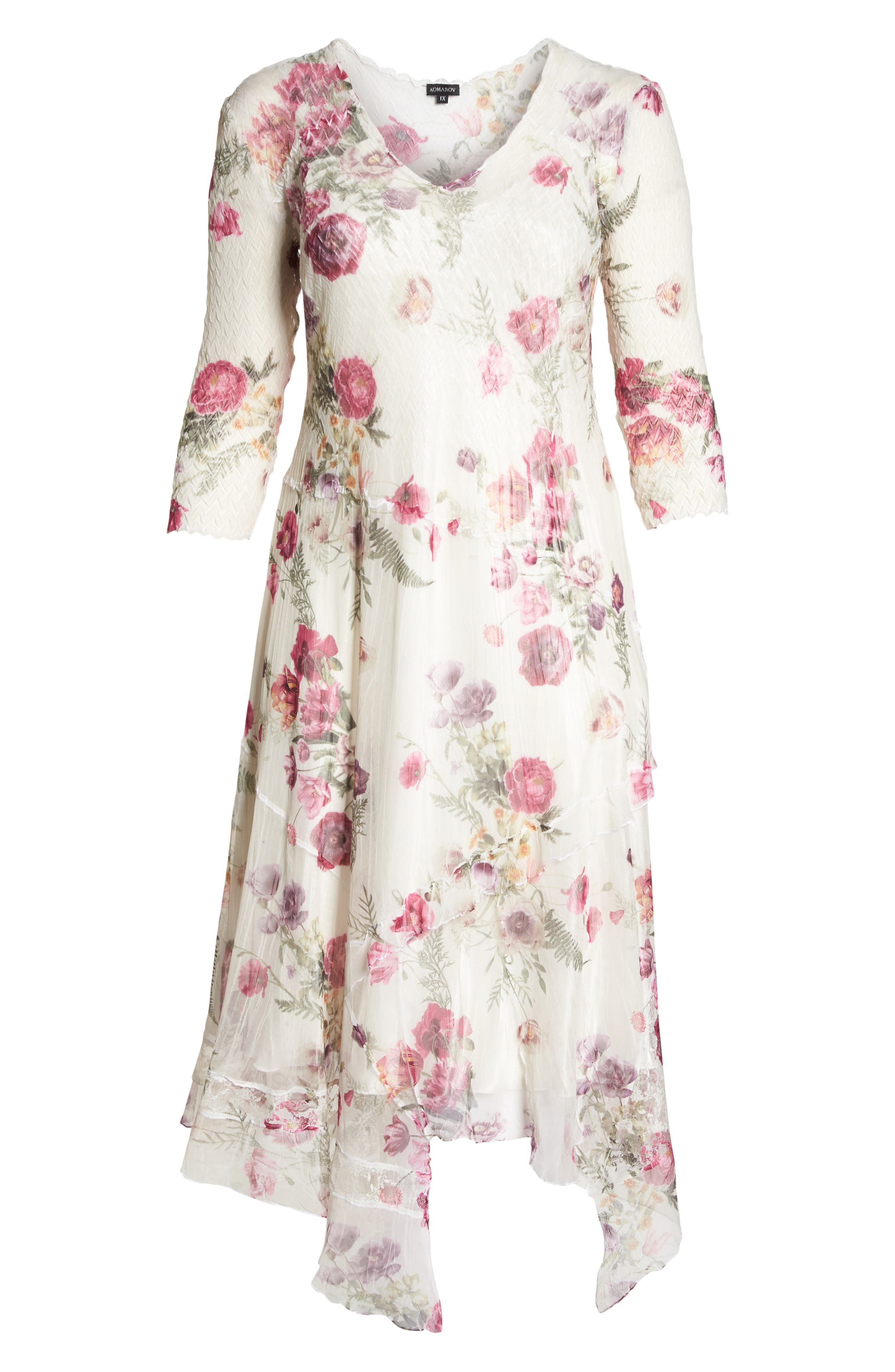 Floral Handkerchief Hem Charmeuse Midi Dress,                             Alternate thumbnail 6, color,                             901