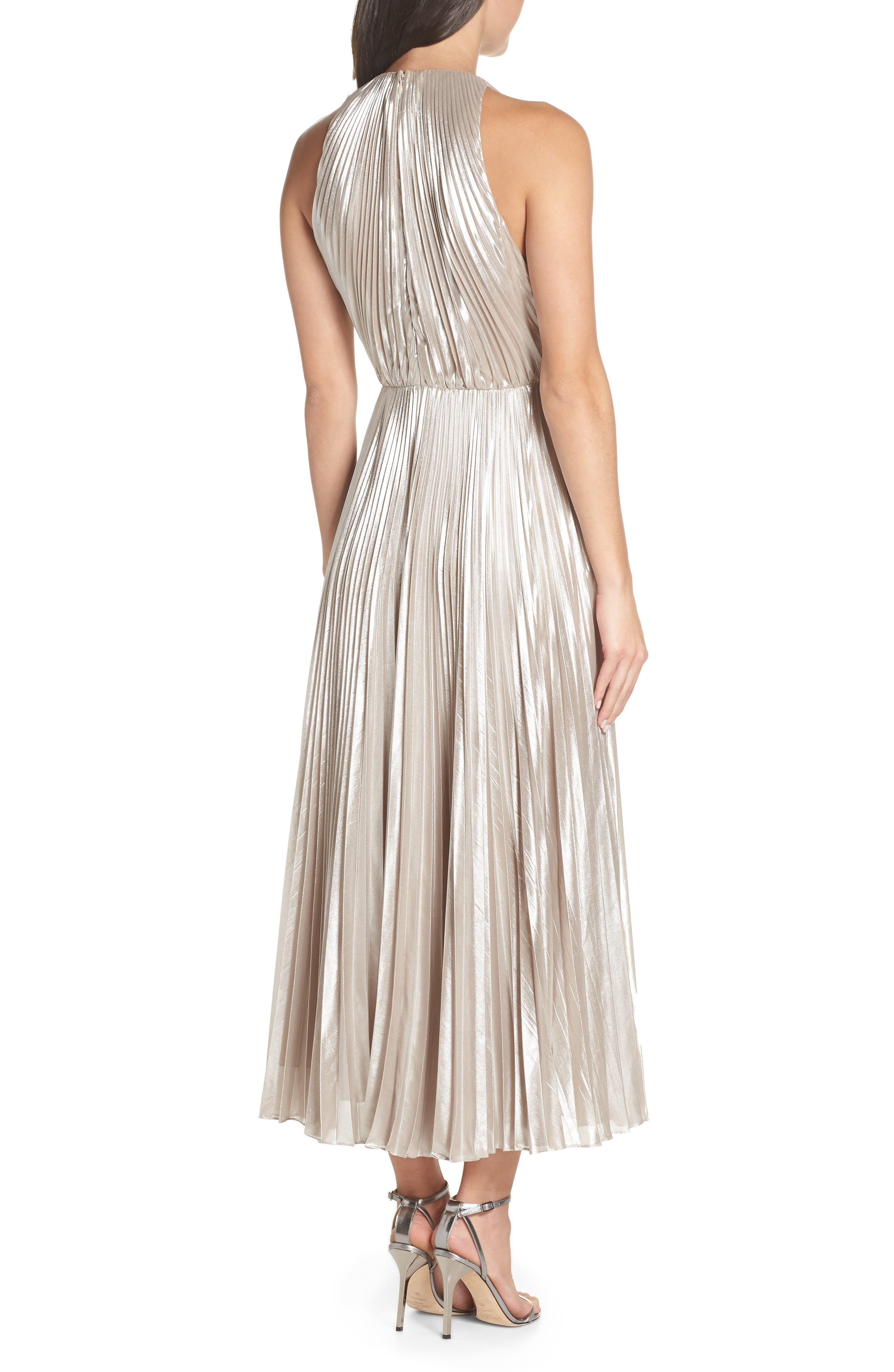 Pleated Metallic Dress,                             Alternate thumbnail 2, color,                             CHAMPAGNE